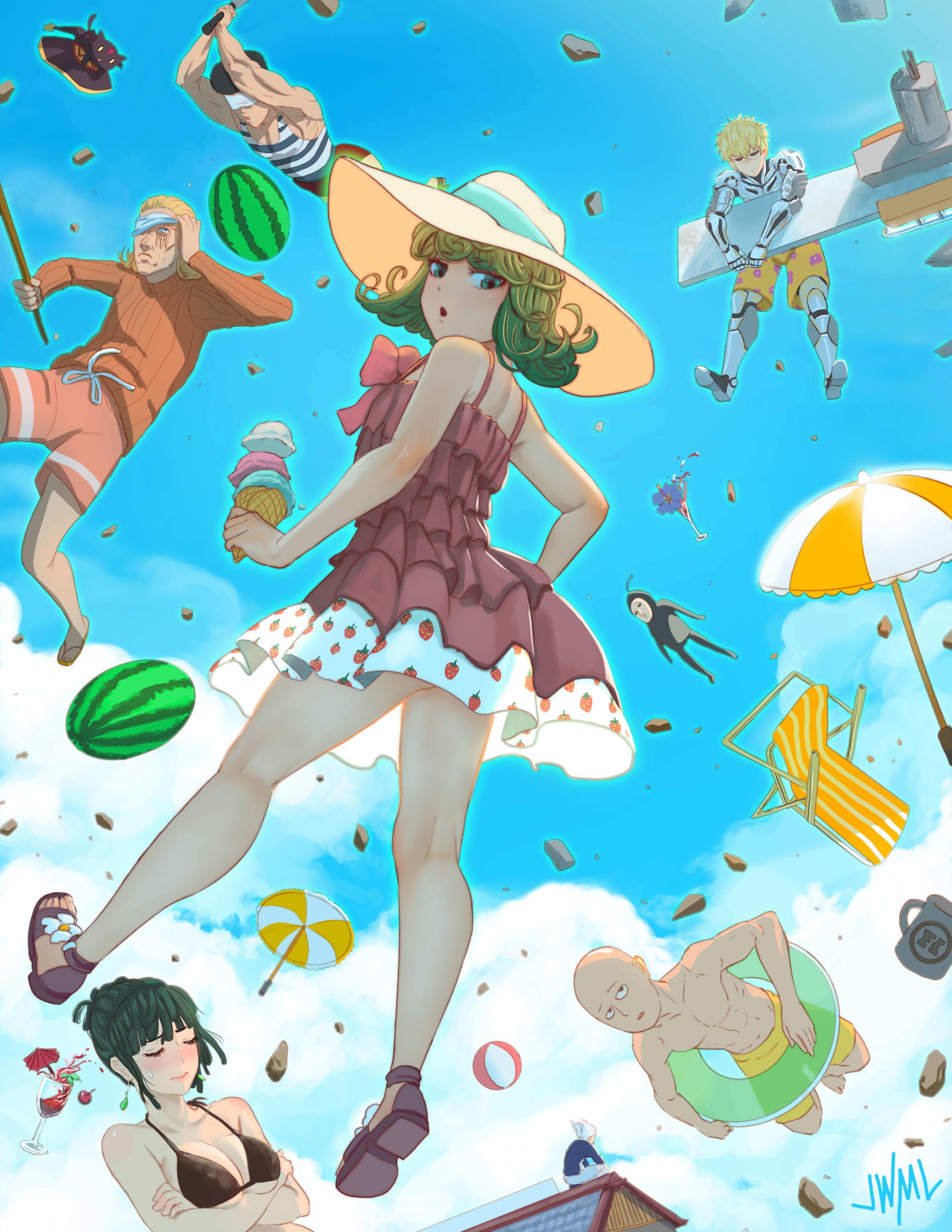 Wallpaper One Punch Man Anime Girls Tatsumaki Genos Saitama