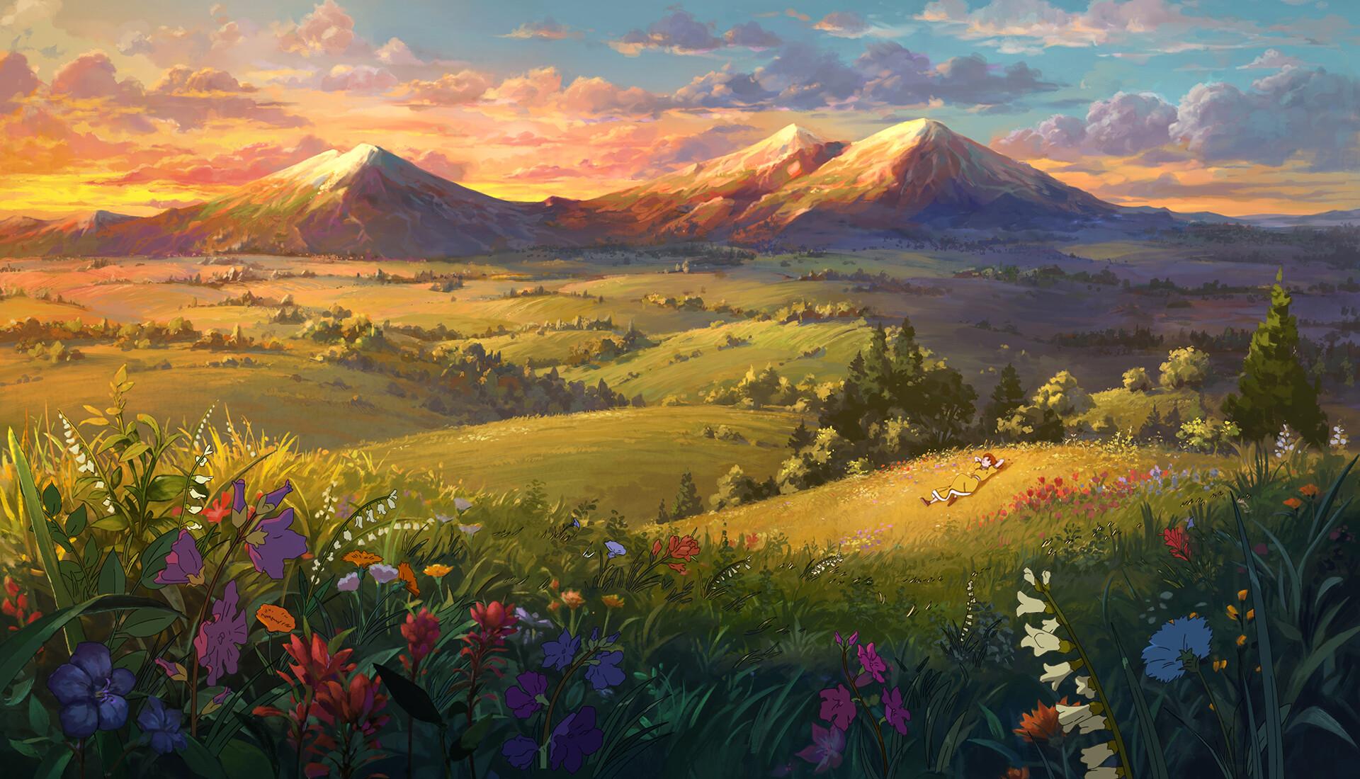 Холмы пейзаж рисунки