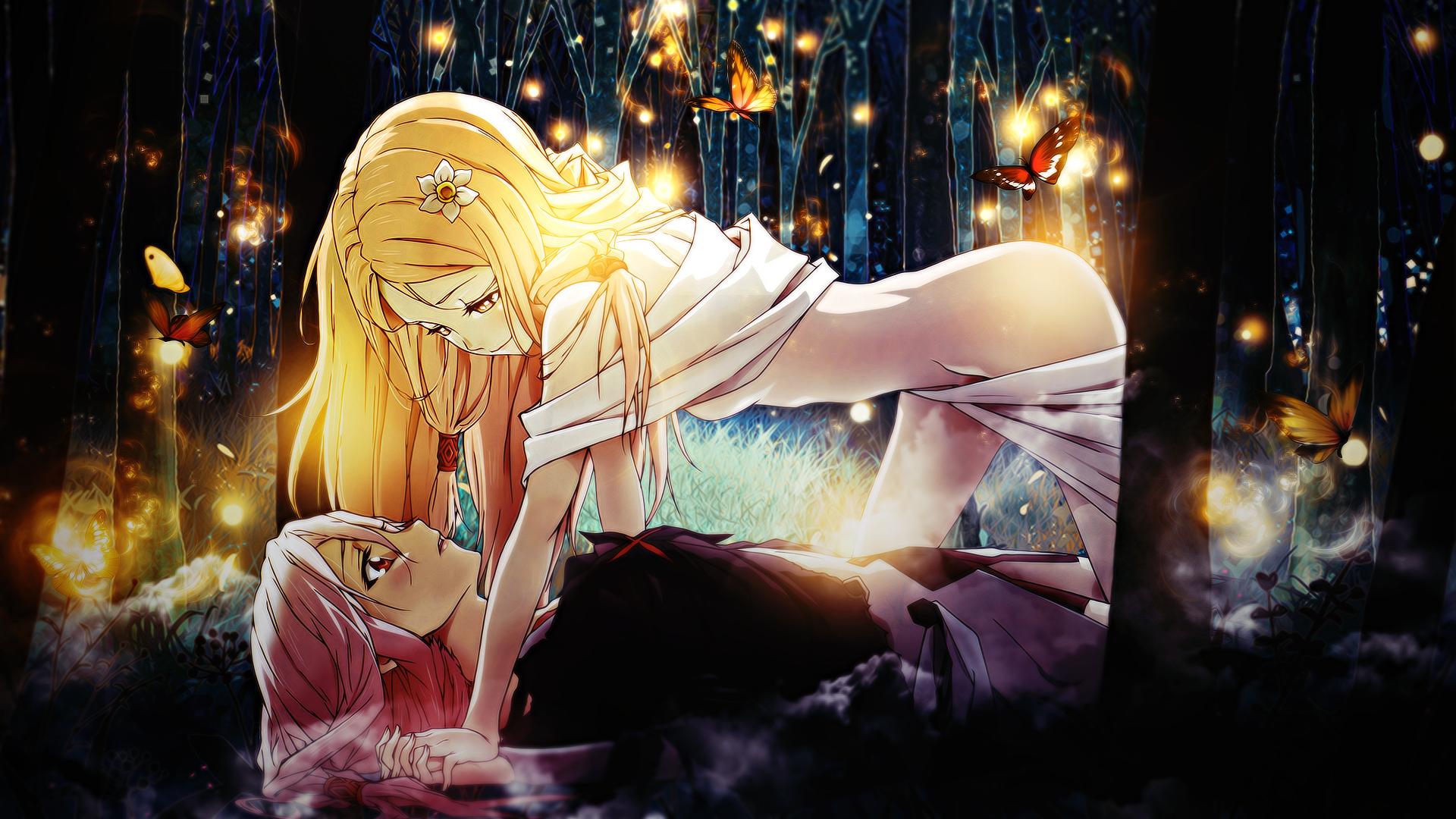 Fond d'écran : Ouma Mana, Yuzuriha Inori, Guilty Crown, Filles anime, Anime, Cheveux roses ...