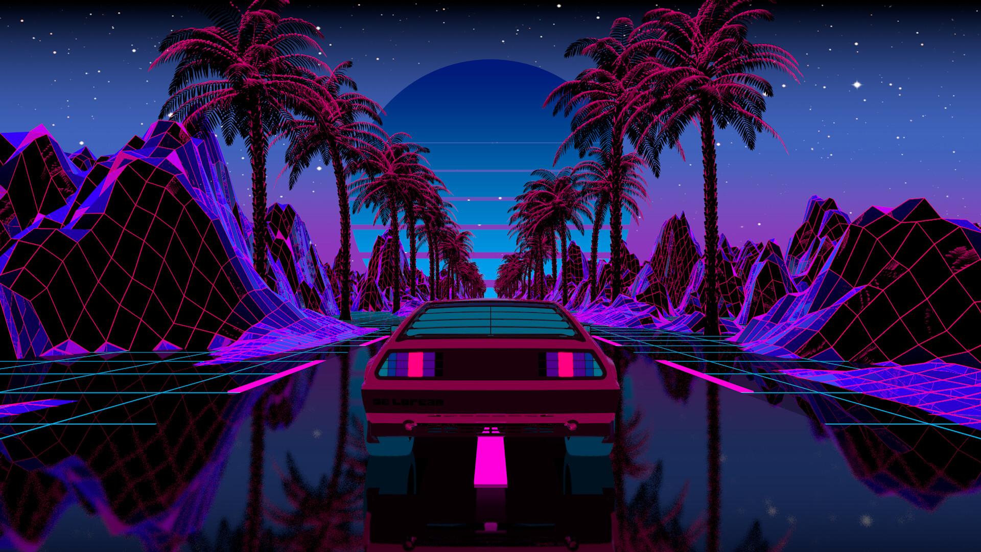 Wallpaper Outrun Car Vehicle Transport Palm Trees Cyber Reflection Sun Purple Pink Cyan Digital Artwork Illustration Evening Neon Landscape Nature Mountains Vaporwave Synthwave Retrowave 1920x1080 Francazo 1853305 Hd