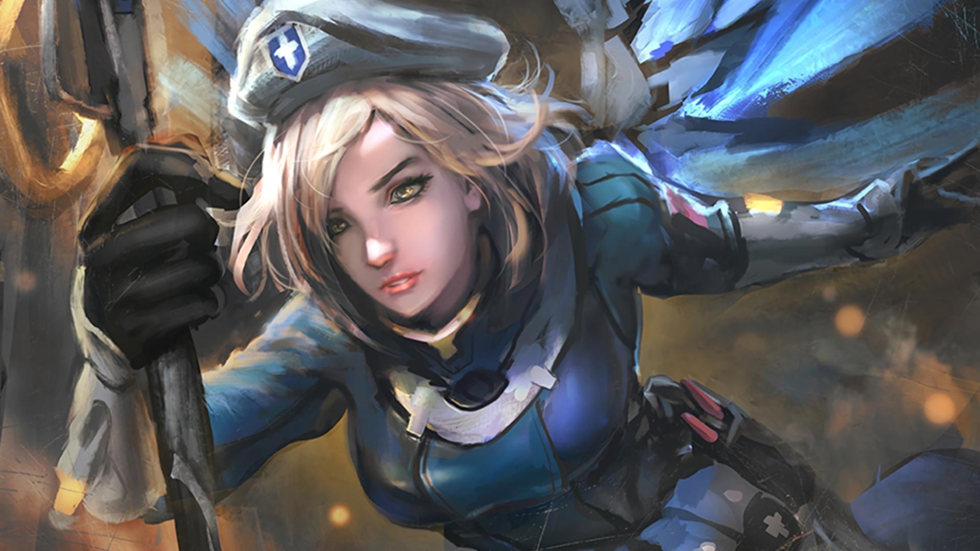 Wallpaper : video games, Mercy Overwatch, women, artwork ...