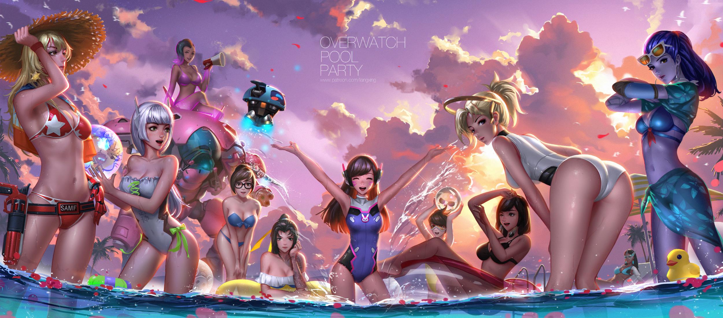 Wallpaper  Overwatch, Video Games, Pool Party, Bikini -2091