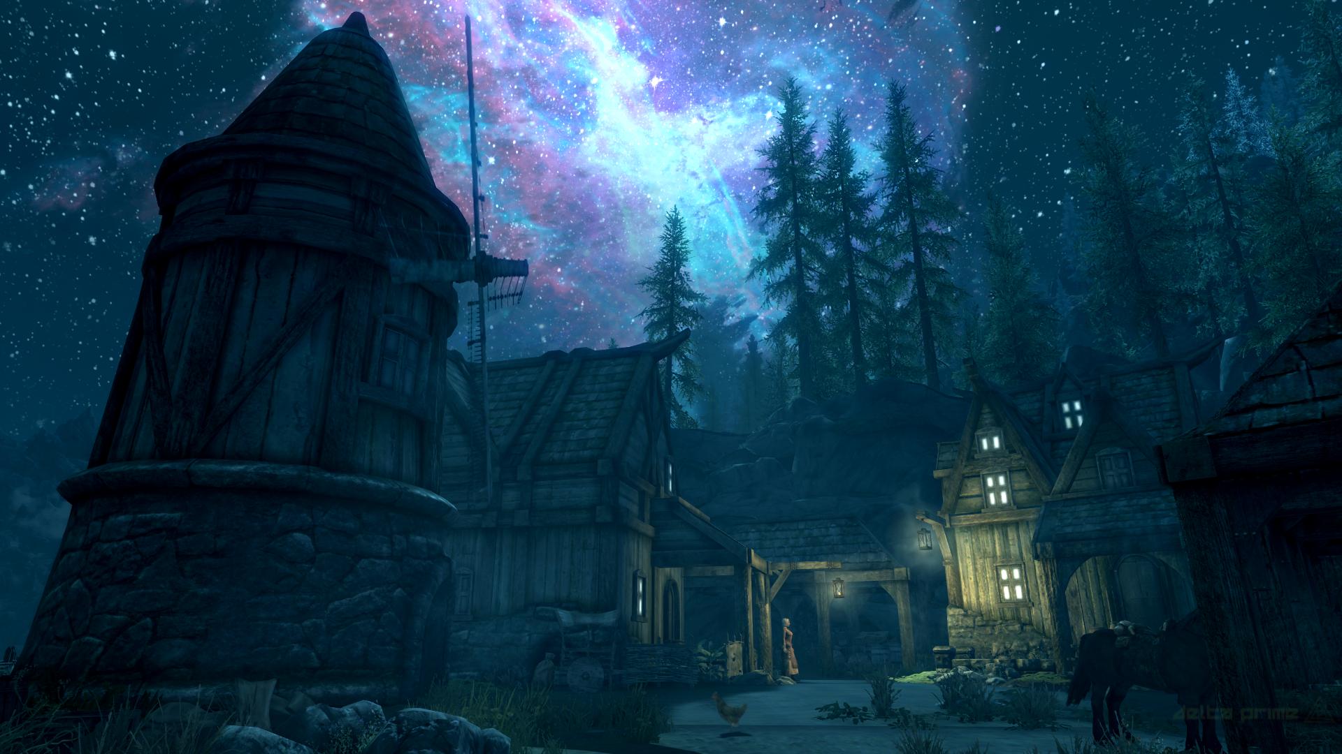 デスクトップ壁紙 Pcゲーム スクリーンショット Elder Scrolls V Skyrim ゲームで Solitude Skyrim 安定した 銀河 夜空 うま 星雲 19x1080 Alexvnsc デスクトップ壁紙 Wallhere