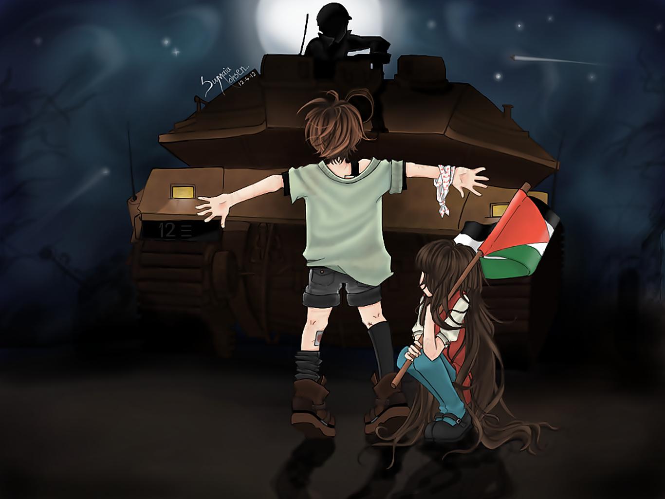 Wallpaper Palestine Caricature Tank Children Flag