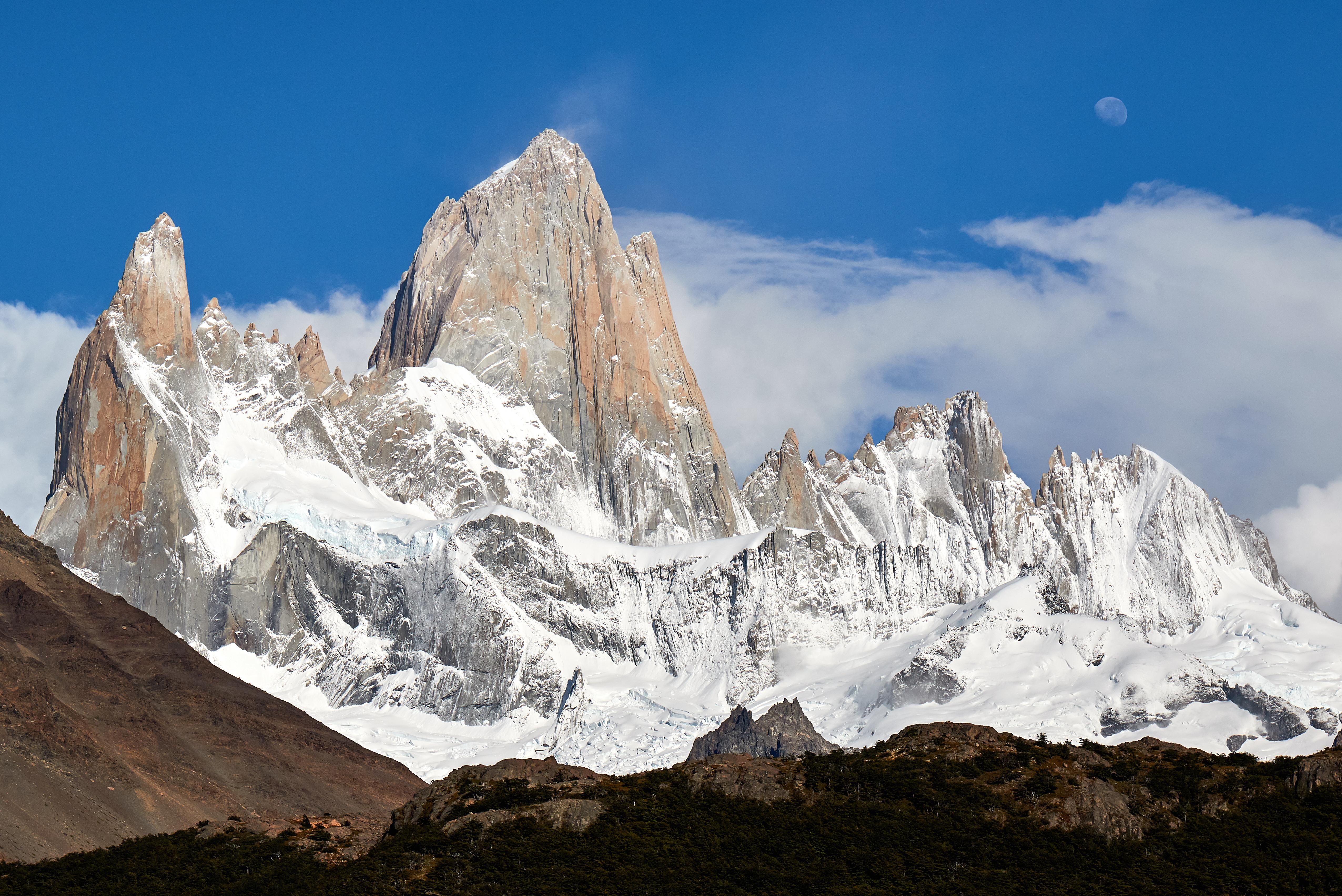 Wallpaper Patagonia Fitzroy Snow Peaks Mountains Southamerica
