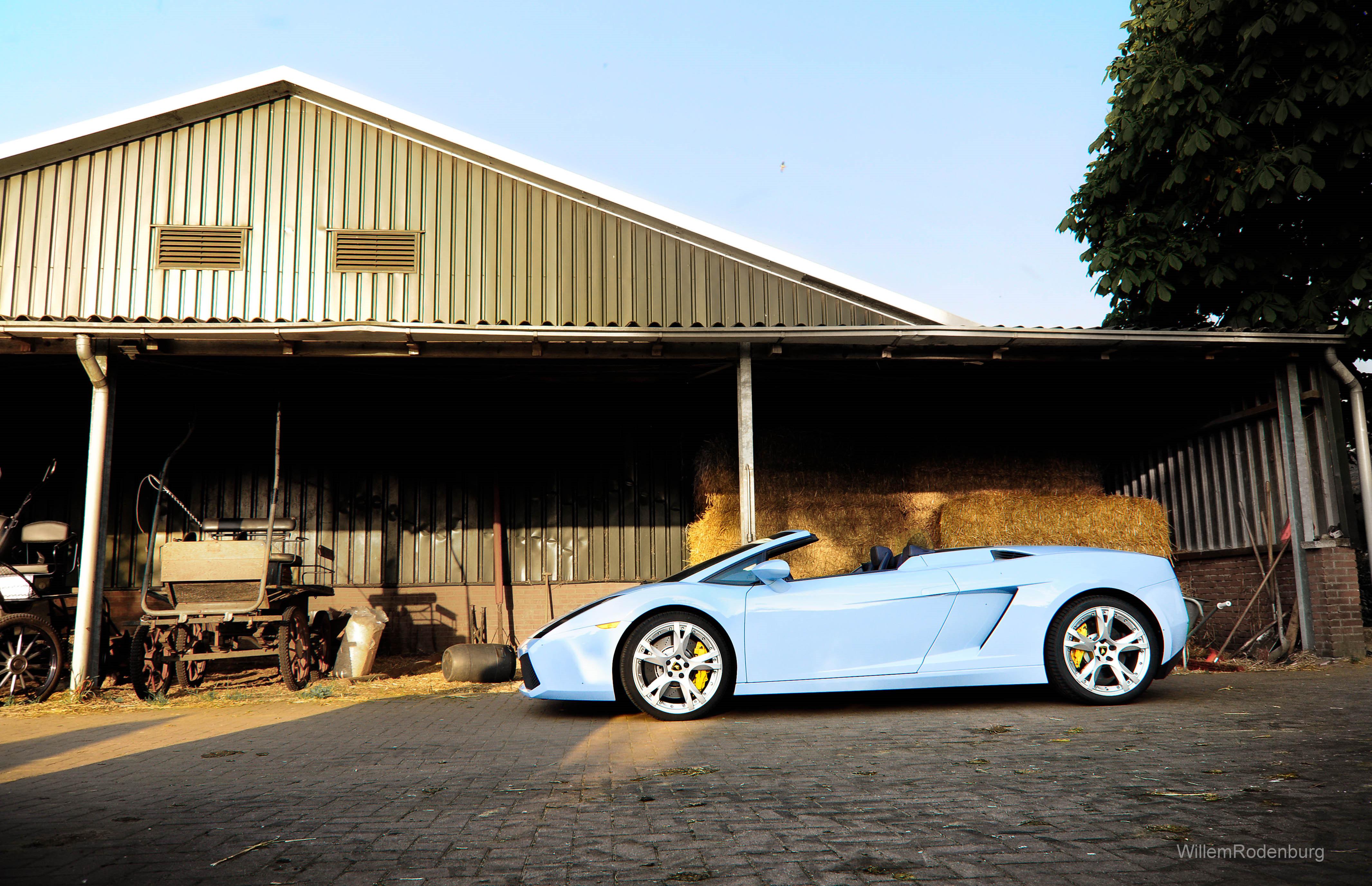 Wallpaper  Photoshop, house, yellow, Lamborghini, farm