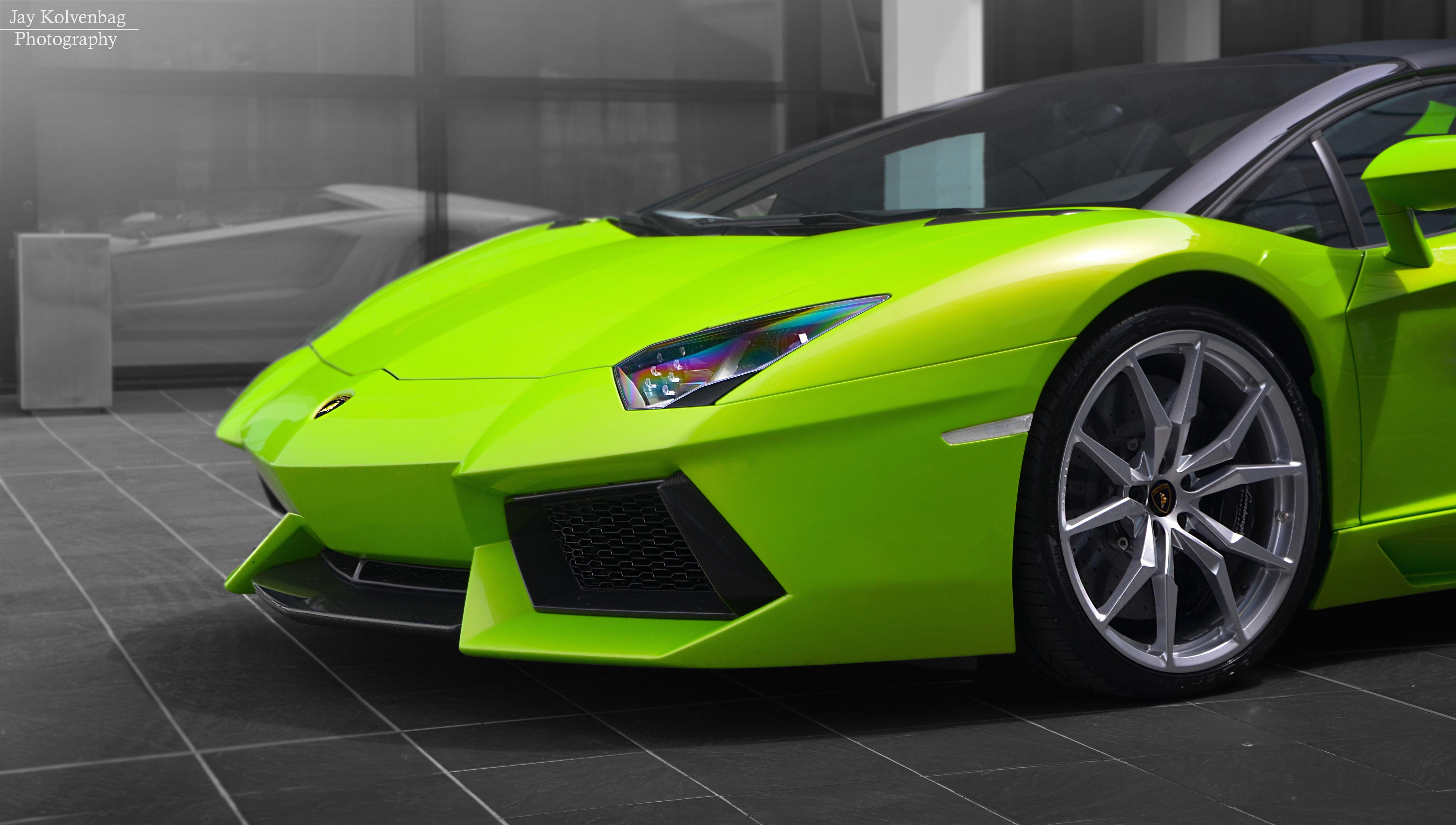 Wallpaper Photoshop Photography Green Lamborghini Aventador