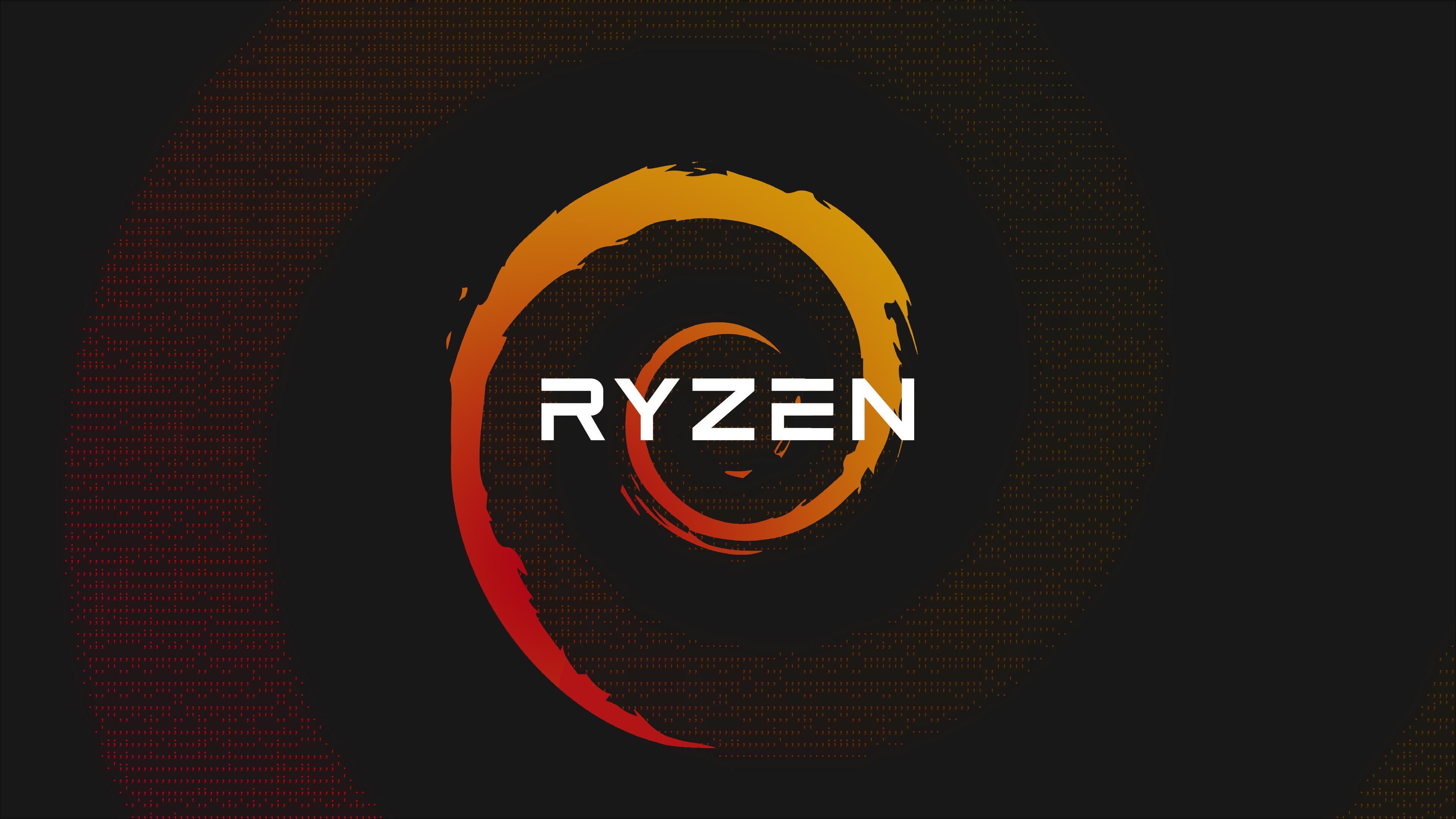 Wallpaper Ryzen Red Yellow Tech Technology 3840x2160