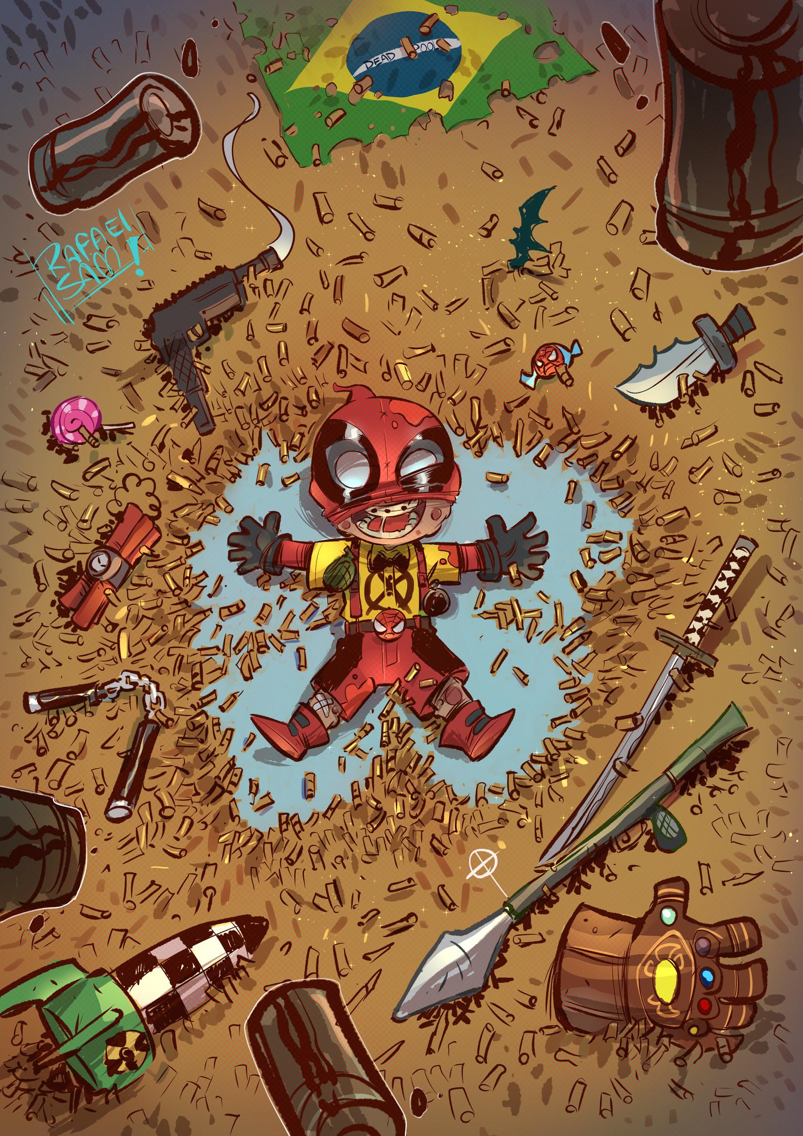 Rafael Sam Illustration Marvel Comics Deadpool Children Gun Rocket Launchers Gloves Bullet