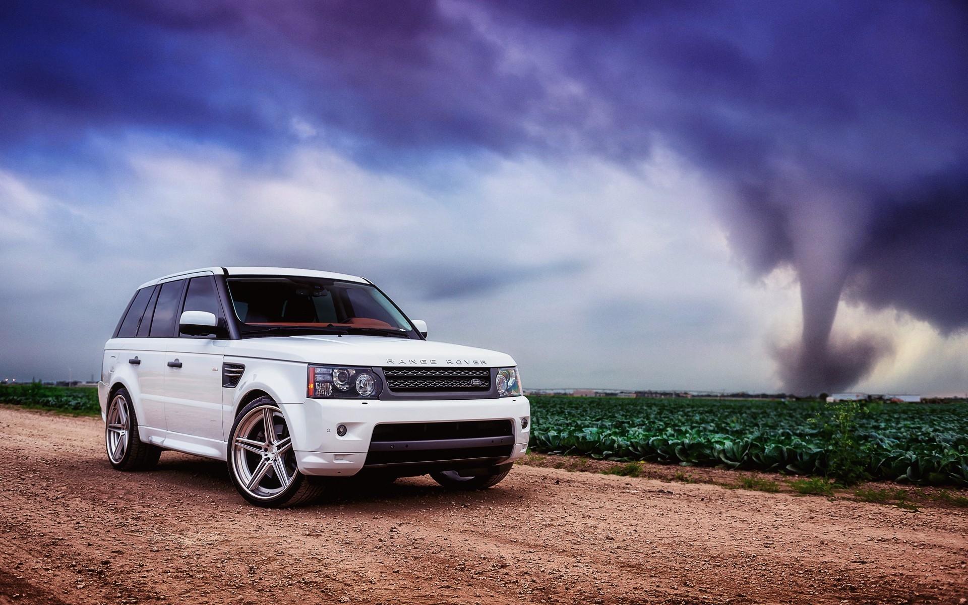Wallpaper Range Rover Car White Field Grass Sky Clouds