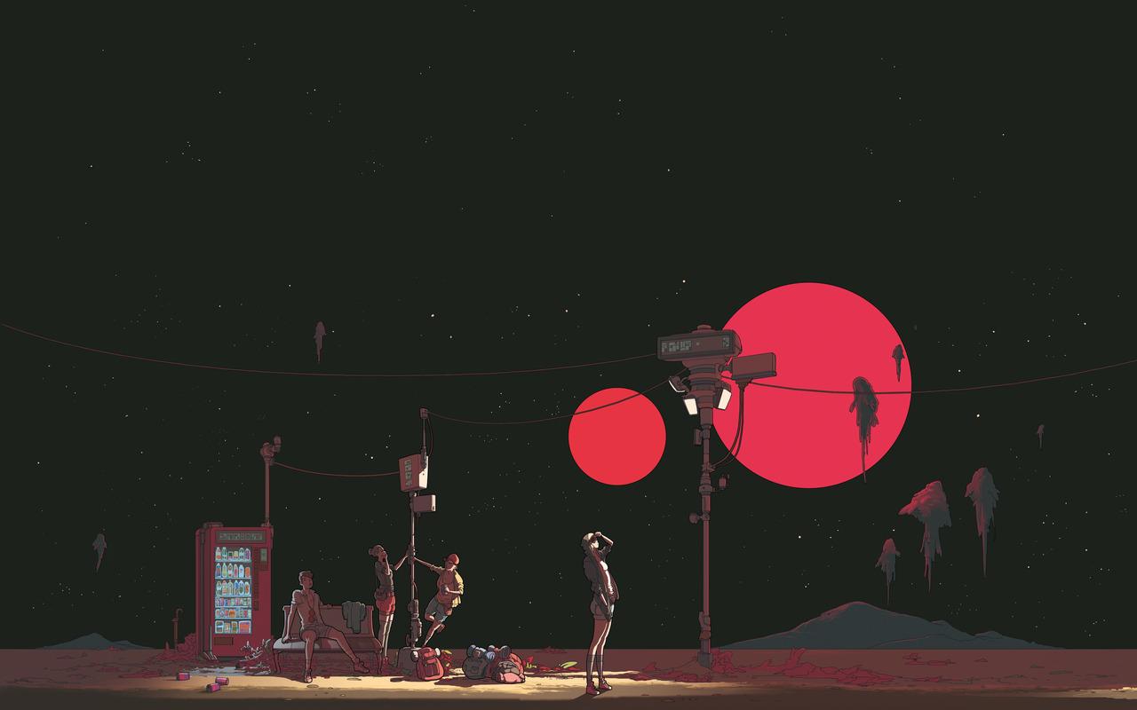Sfondi Luna Rossa Persone Spazio Telefono Adolescenti 1280x800