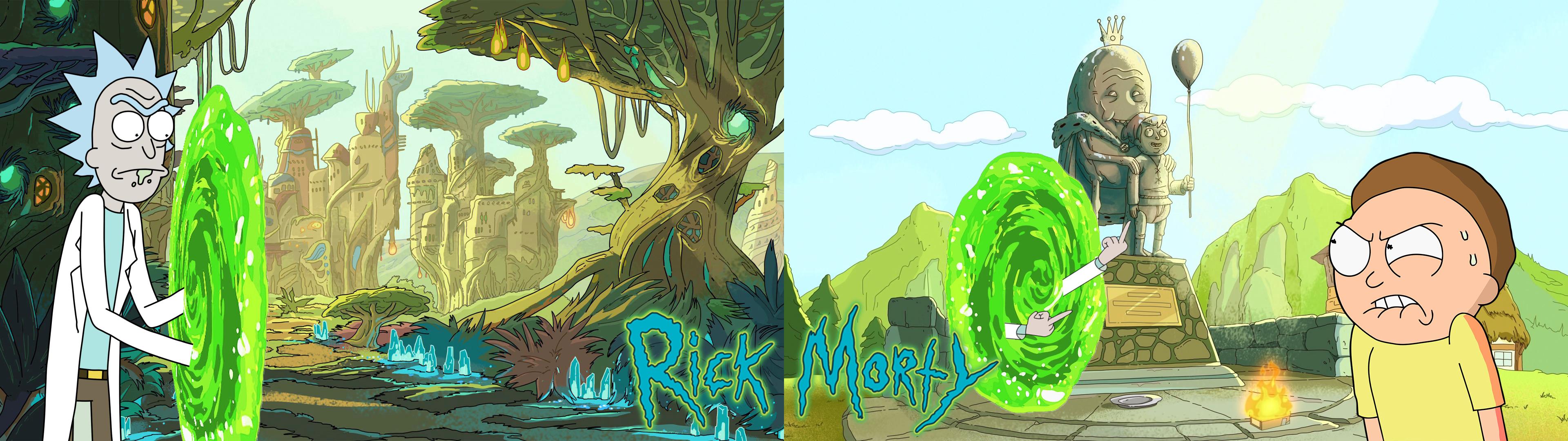 Wallpaper : Rick and Morty, dual monitors, dual display 3840x1080 - lolbear - 1248593 - HD ...