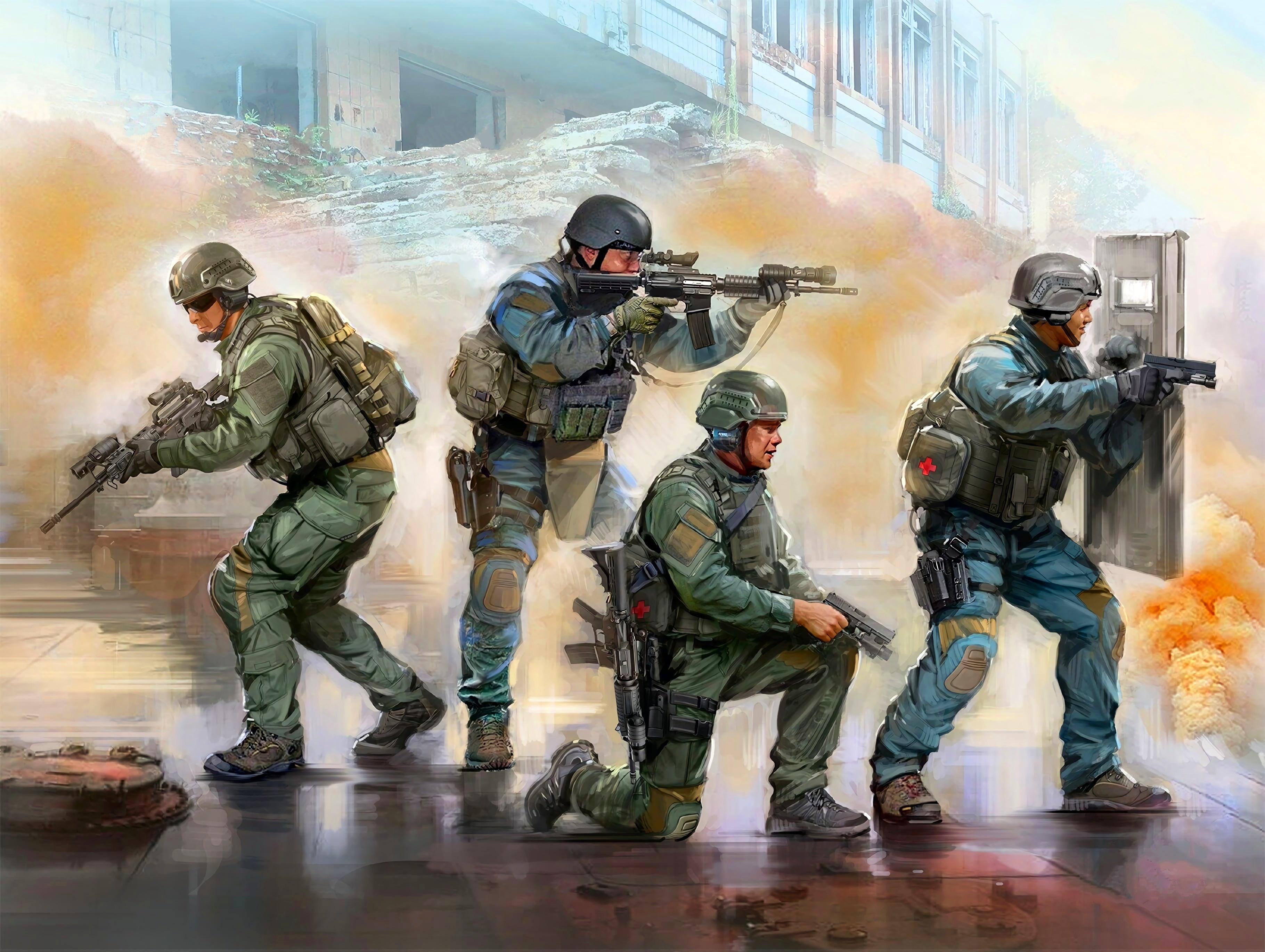 Wallpaper Swat Men Artwork Weapon Usa Police Special