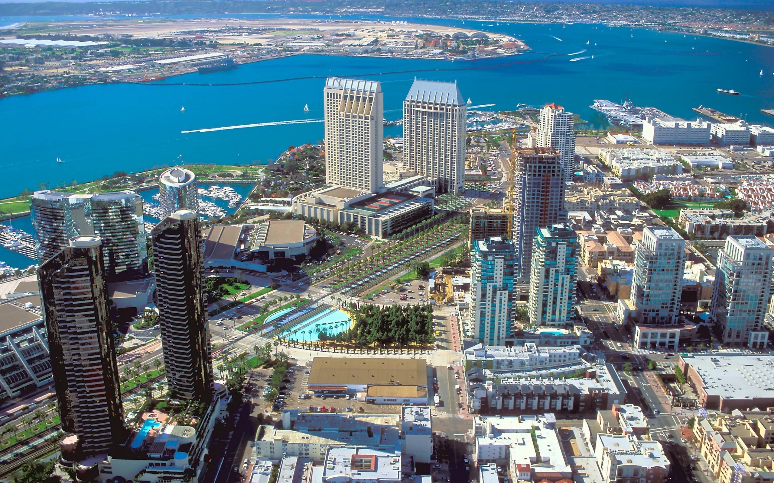 Wallpaper : San Diego, city center, top view, skyscrapers, California, USA  2560x1600 - 4kWallpaper - 662725 - HD Wallpapers - WallHere