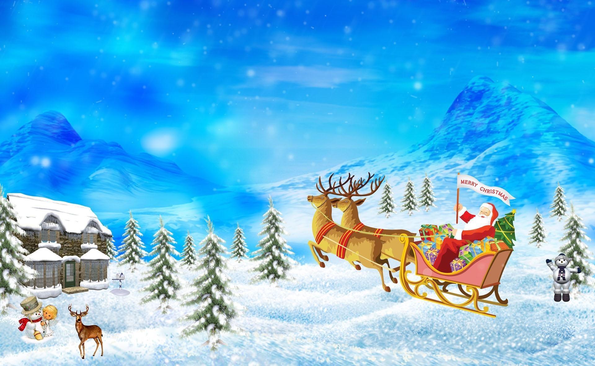 Fond D écran Vacances De Noël: Fond D'écran : Père Noël, Renne, Traîneau, Cadeaux