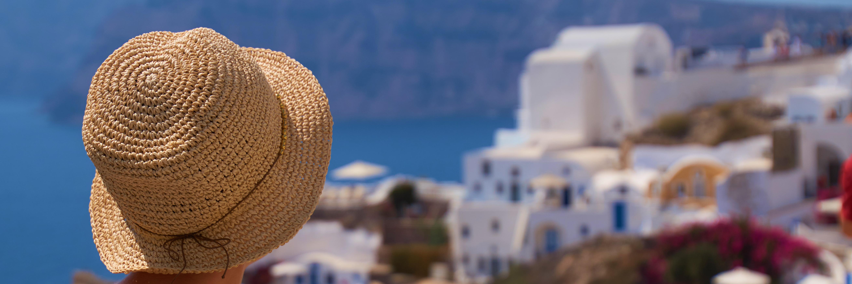 Wallpaper Santorini Oia Greece View Hat Woman
