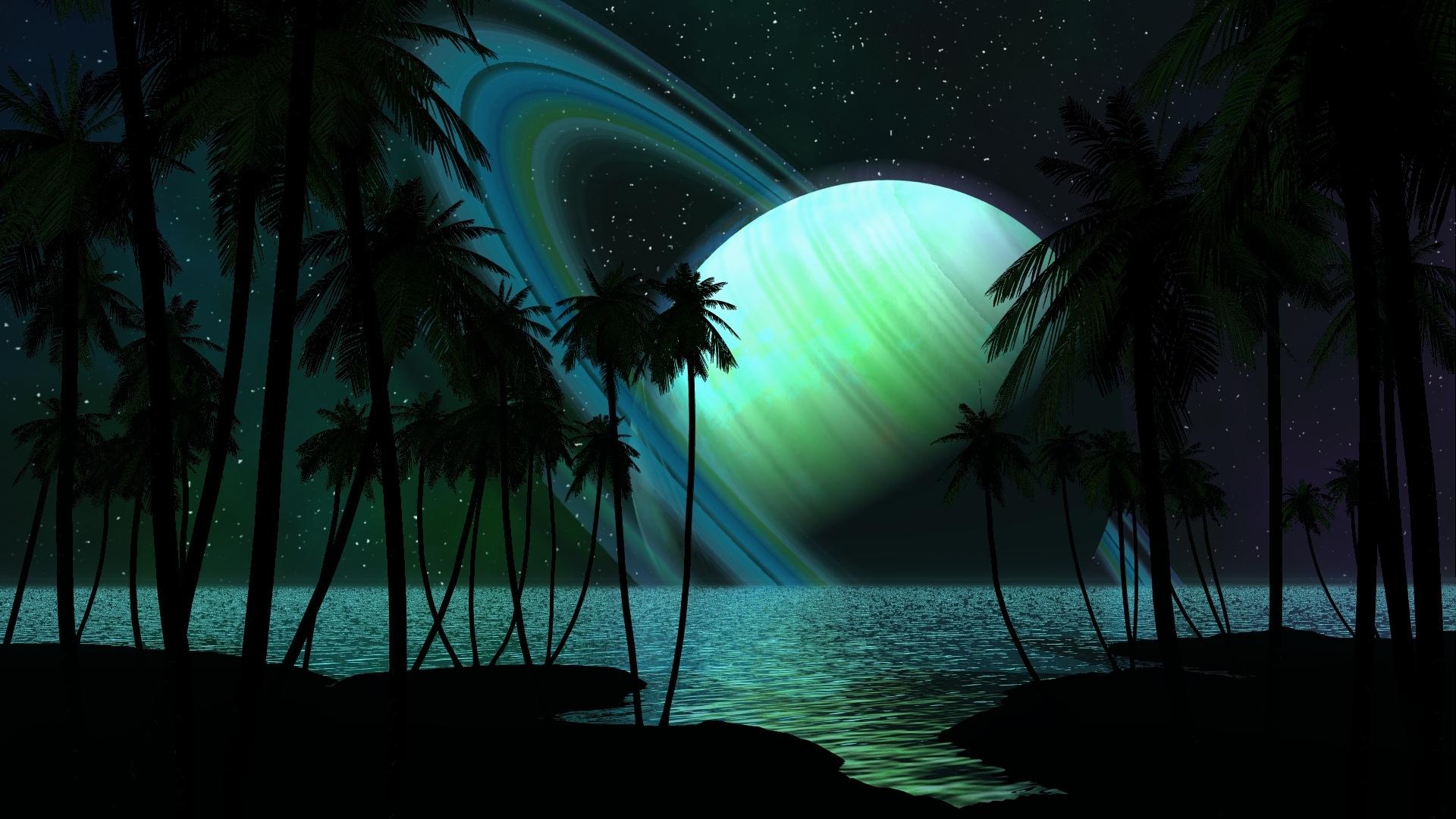 Wallpaper Saturn Planet Palm Trees Sky Light 1920x1080
