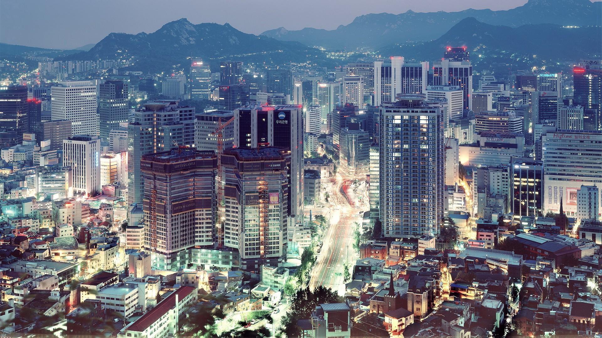 Wallpaper seoul south korea cityscape city apartments mountains house 1920x1080 - South korea wallpaper hd ...