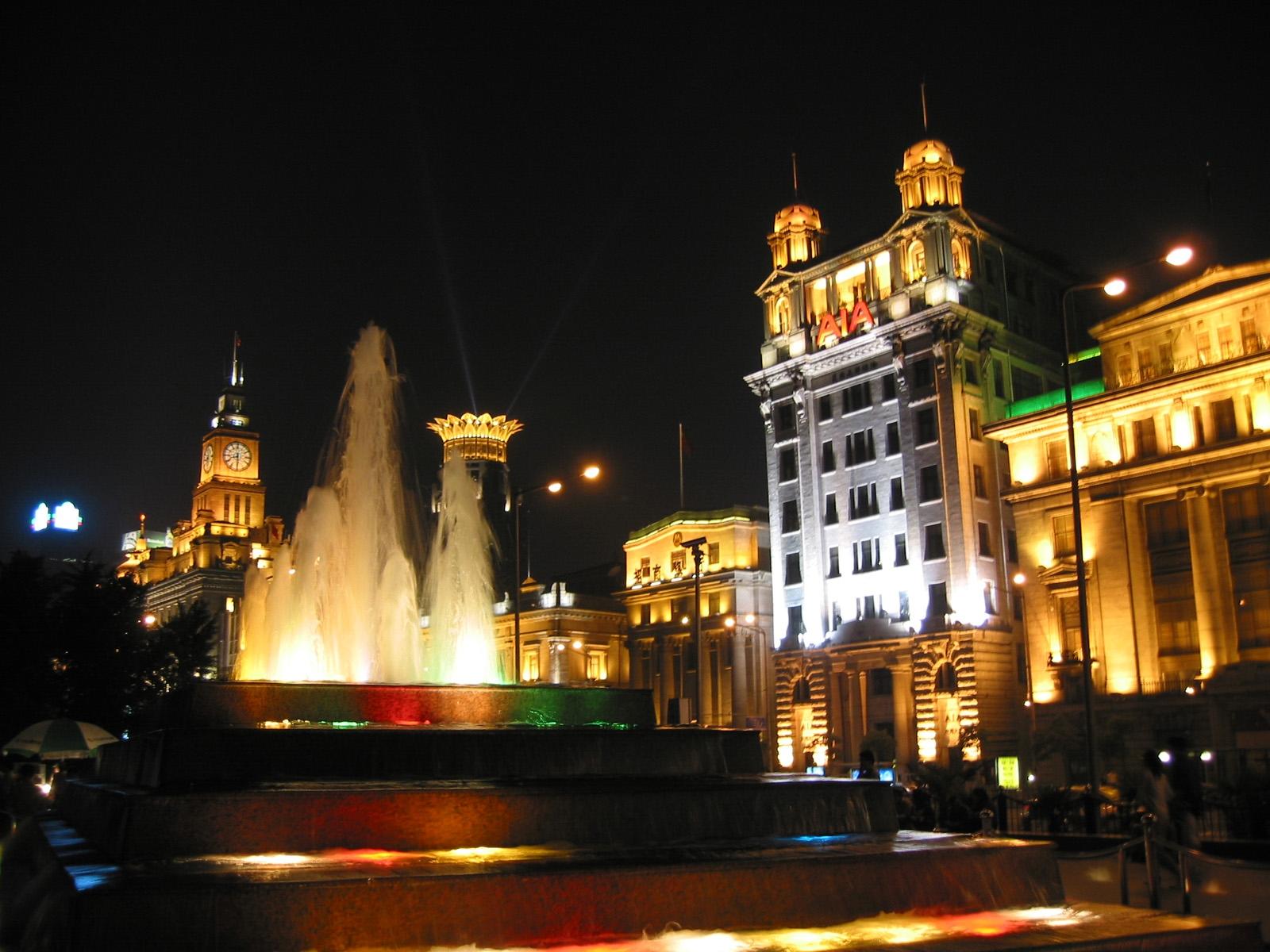 Wallpaper : Shanghai, bund, fountain