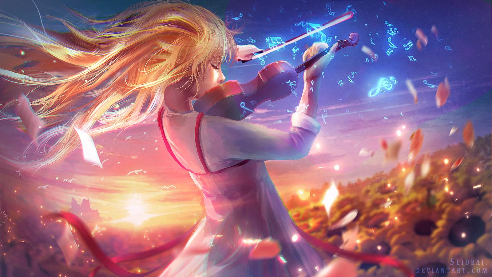 Wallpaper Shigatsu Wa Kimi No Uso Miyazono Kaori Sky Blond