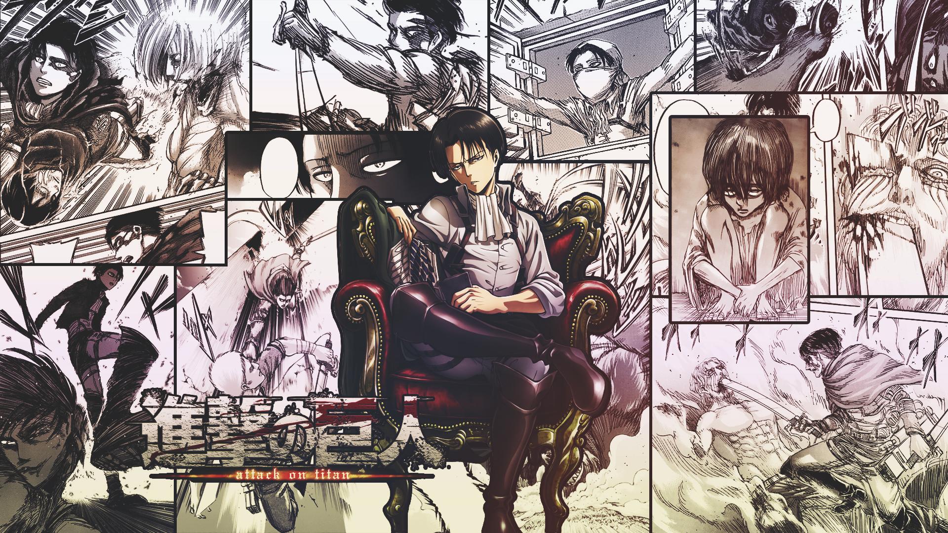 Wallpaper Shingeki No Kyojin Levi Ackerman Collage Comics Manga Speech Bubble Throne Frontal View 1920x1080 Hk64 1969105 Hd Wallpapers Wallhere