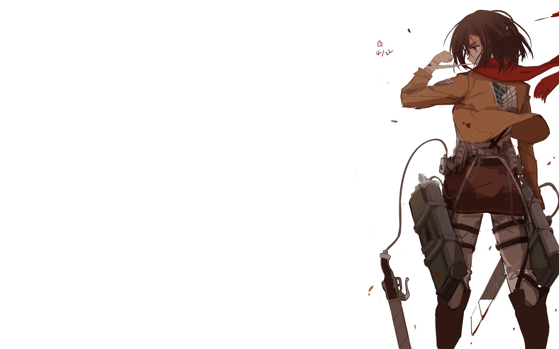 Wallpaper Shingeki No Kyojin Anime Girls Mikasa Ackerman
