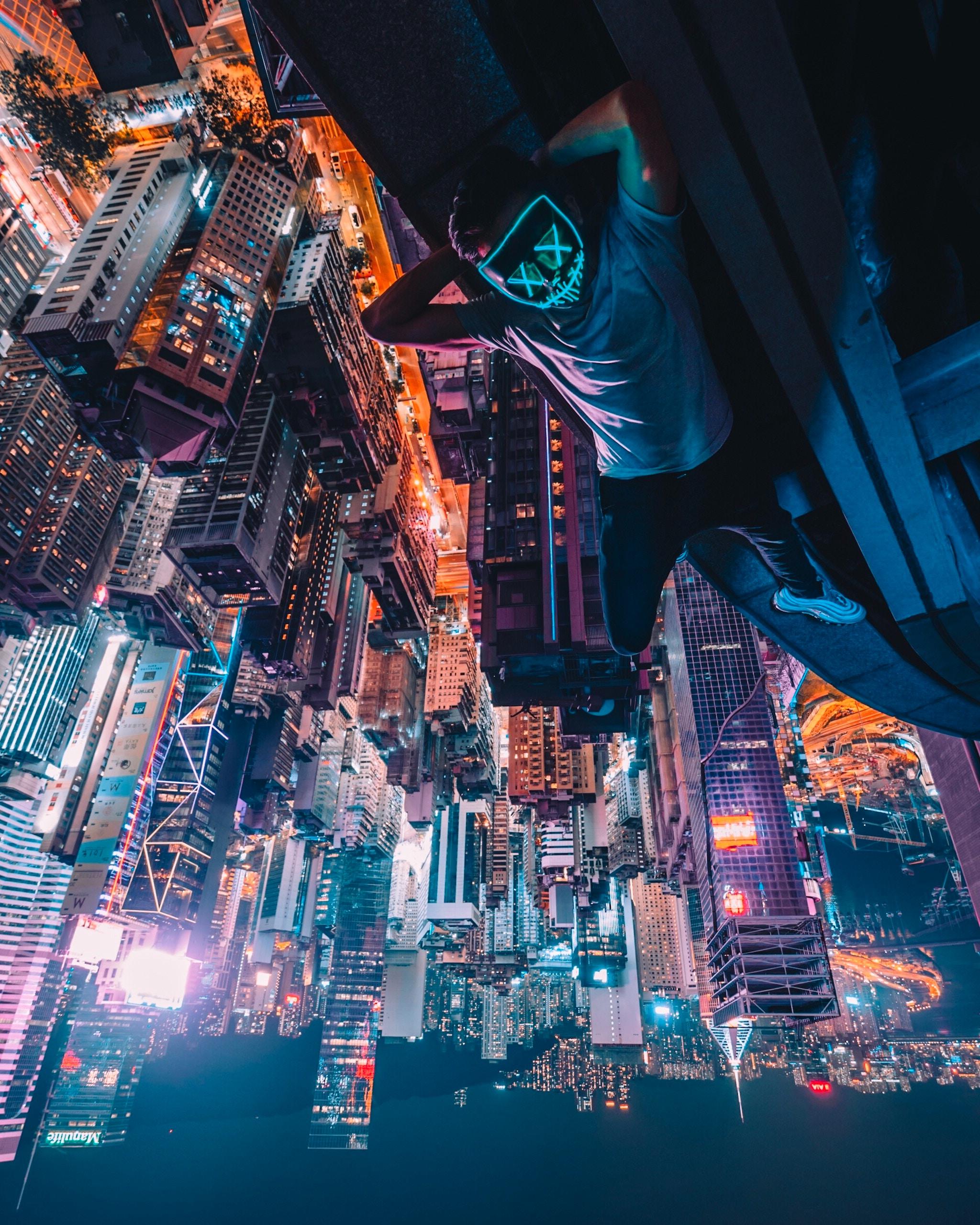 배경 화면 : Simon Zhu, 홍콩, 마스크, 네온, 옥상, 마천루, 도시의, 건축물, 도시 풍경