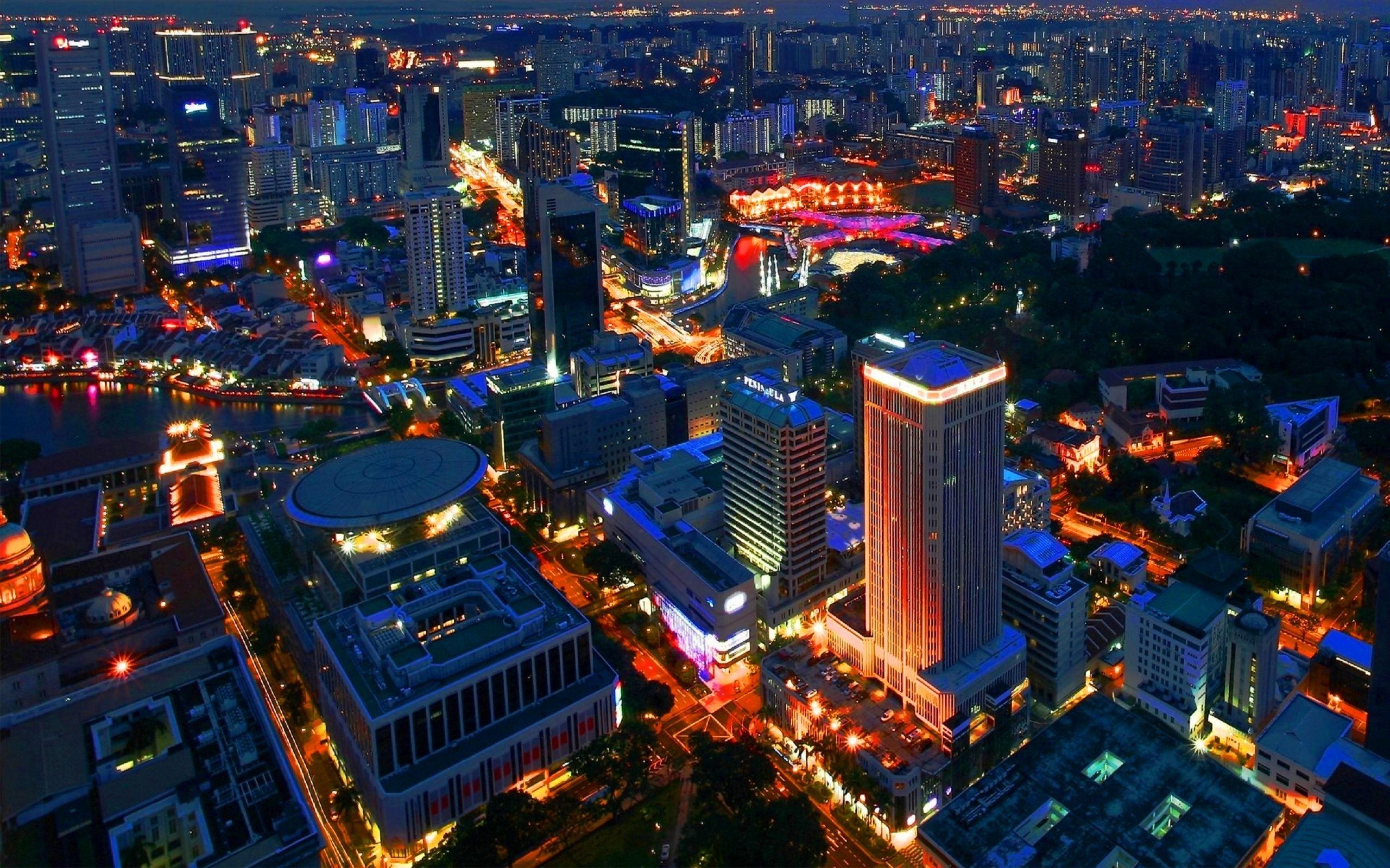 Wallpaper Singapore Night Building 2560x1600