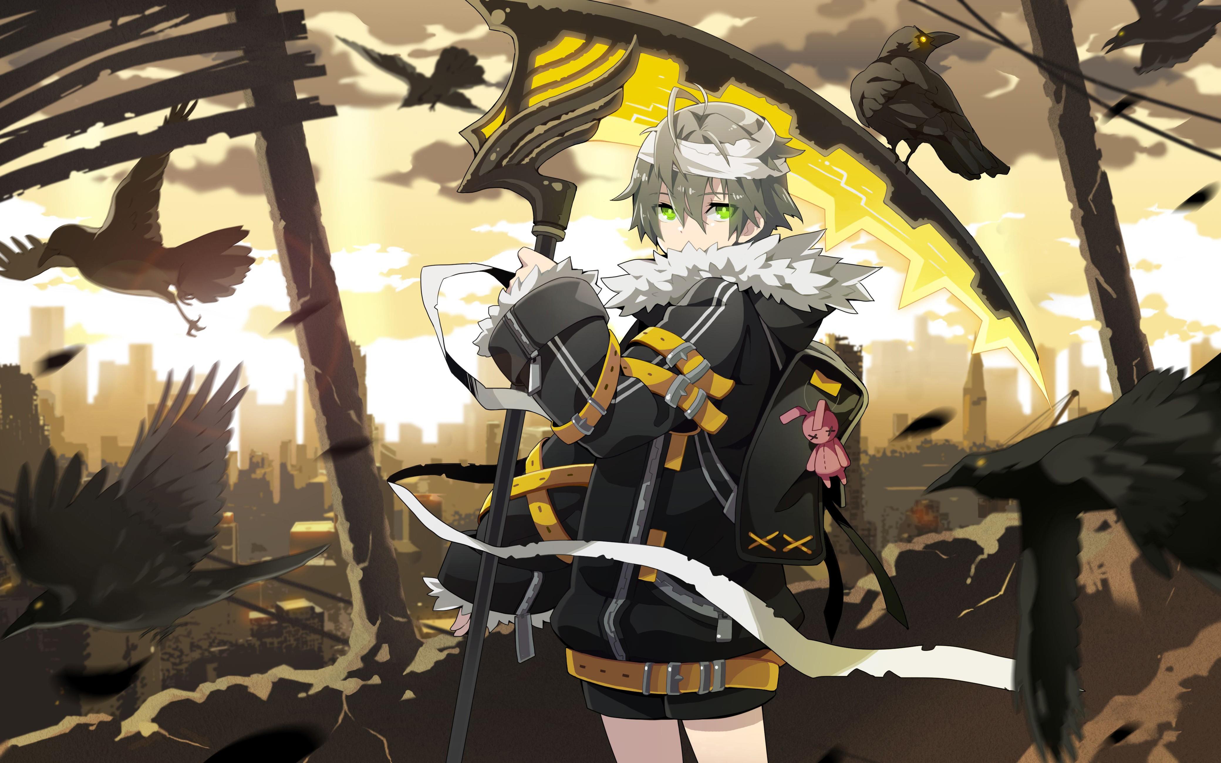 Wallpaper : Soul Worker, weapon, anime boys, scythe, crown, shorts