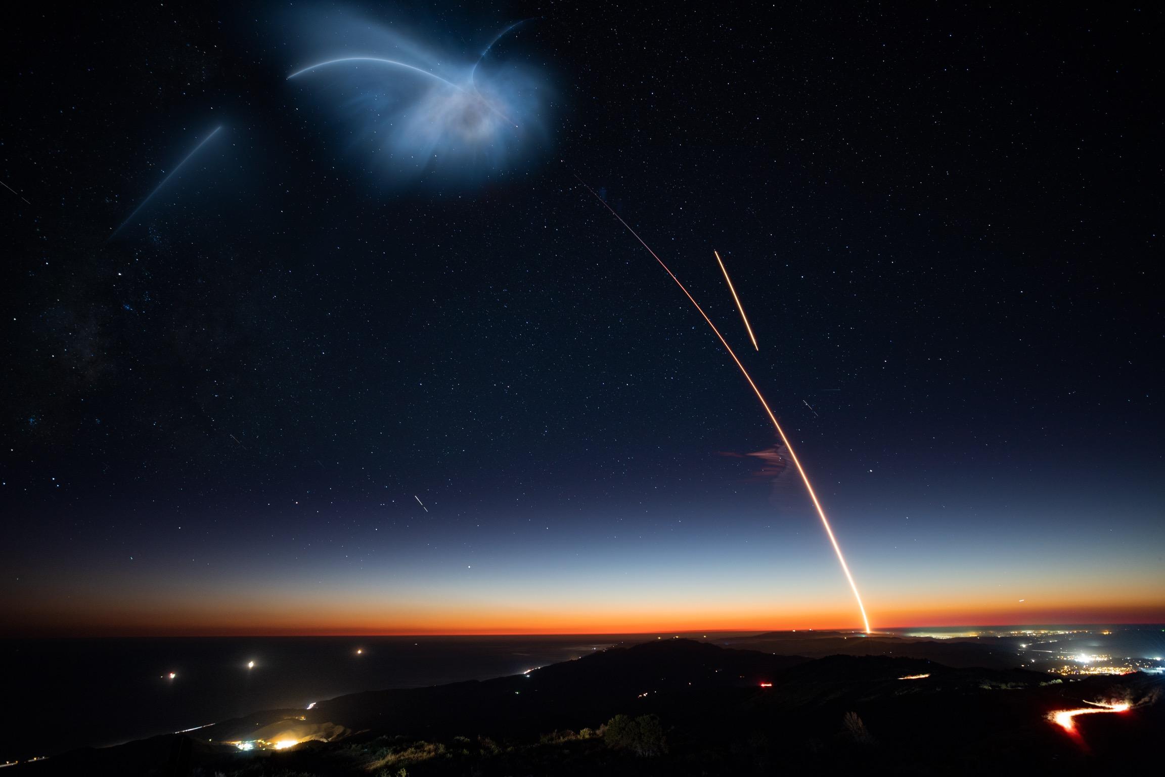 Wallpaper Spacex Rocket Long Exposure Falcon 9