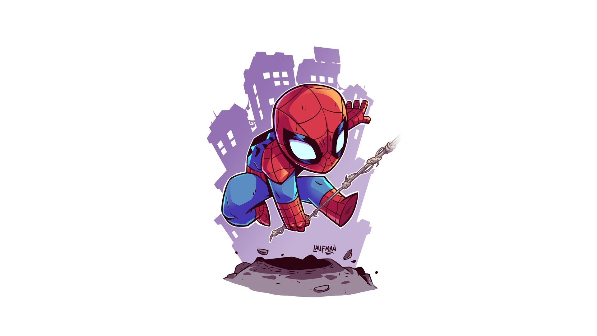 Spider Man superhero white background simple background artwork