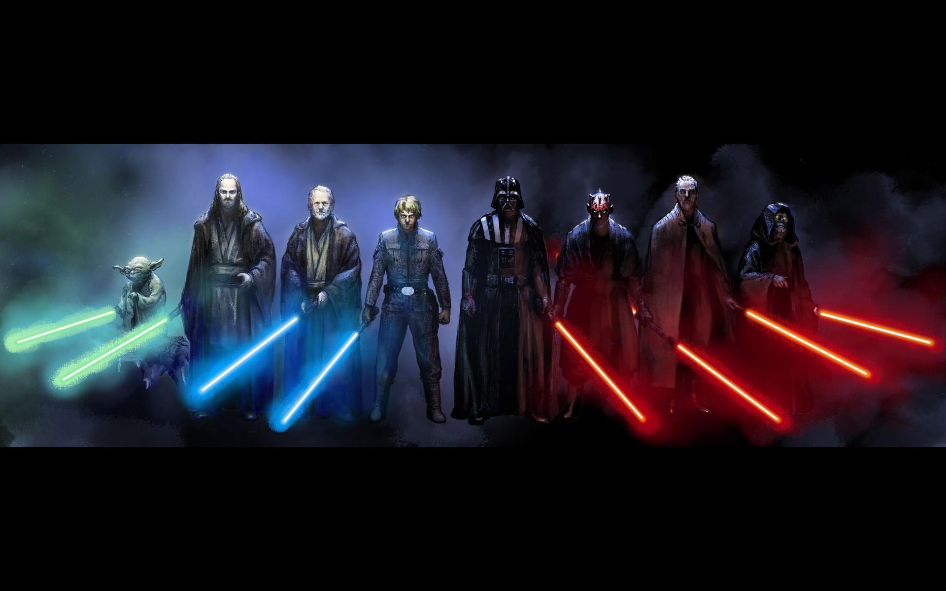 Wallpaper Star Wars Darth Vader Yoda Obi Wan Kenobi Luke