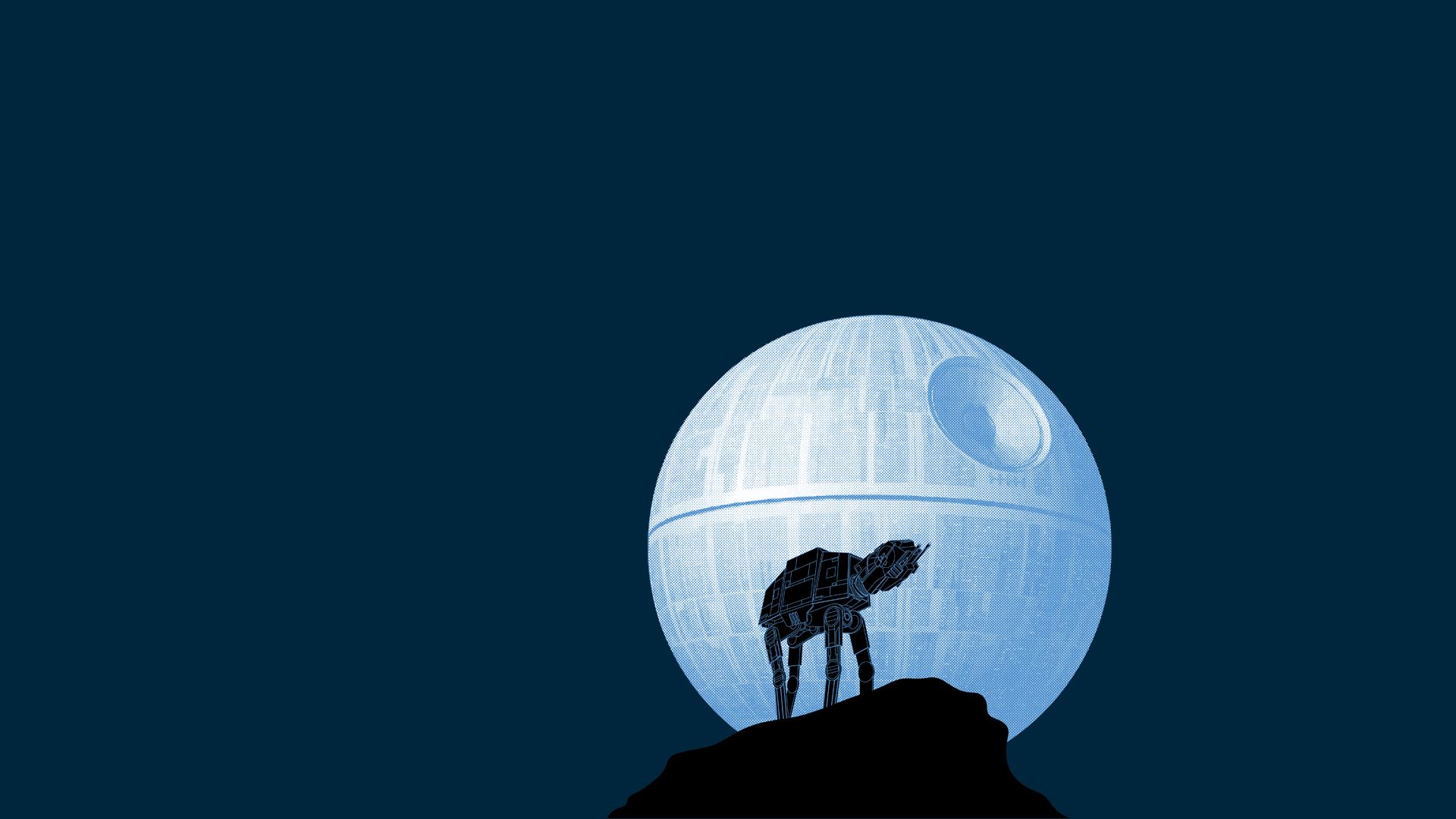 Star Wars Death Star AT AT minimalism blue background 1362955