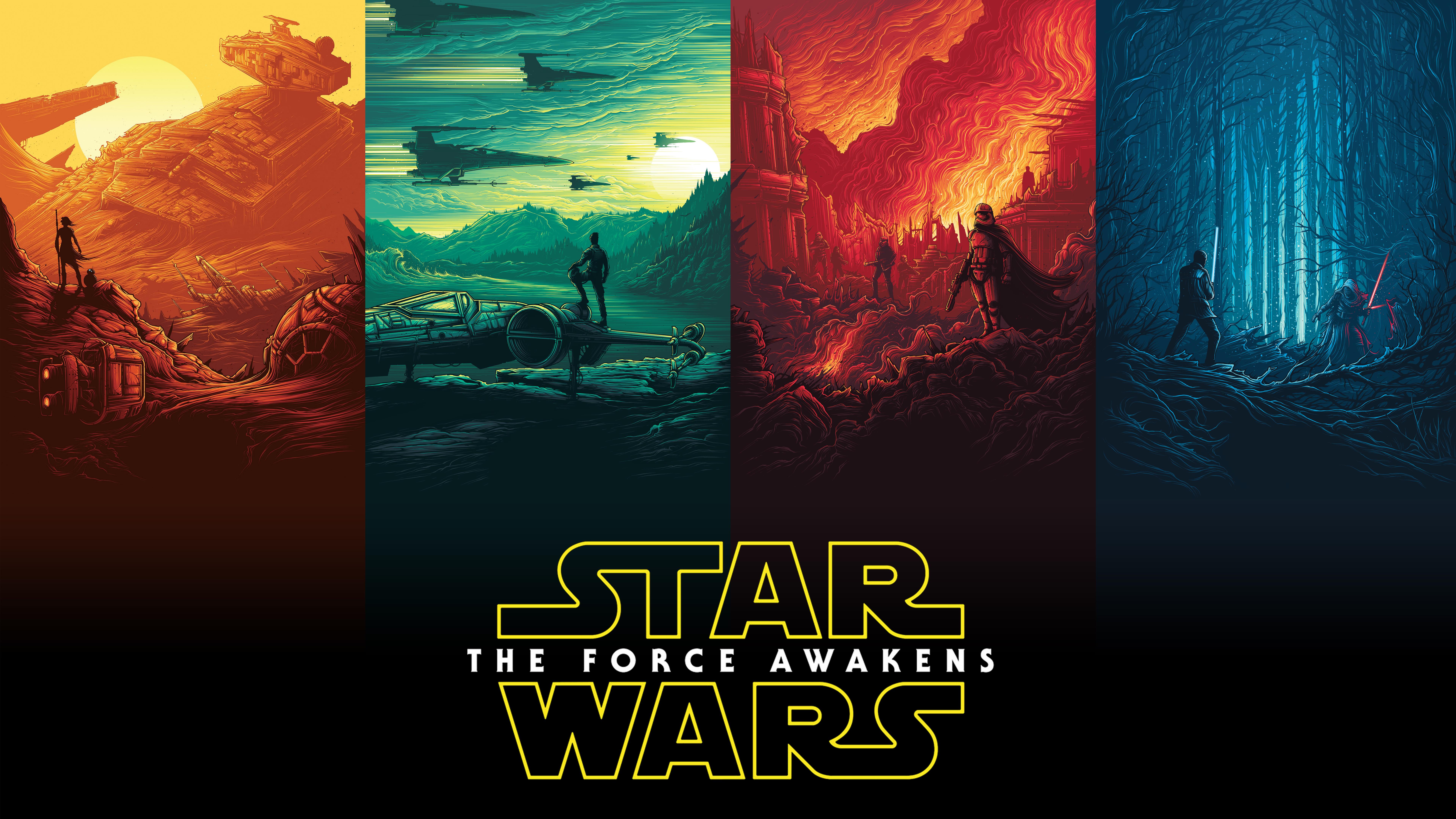 Wallpaper Star Wars Star Wars The Force Awakens Movie Poster Film Posters 7680x4320 Hamouza105 1159543 Hd Wallpapers Wallhere