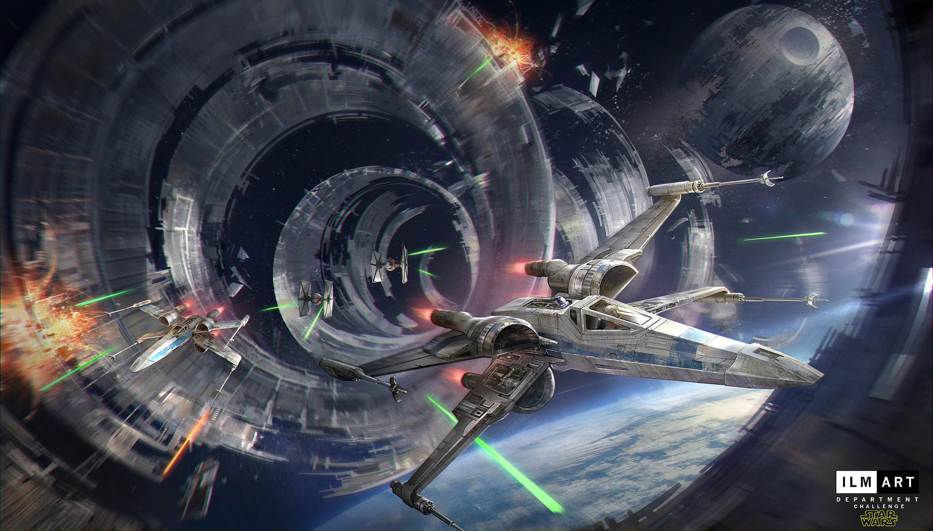 Wallpaper Star Wars X Wing Spaceship Tie Fighter Blaster Fighting Dogfight Death Star Tunnel Laser 1920x1093 Mariocello 1748315 Hd Wallpapers Wallhere