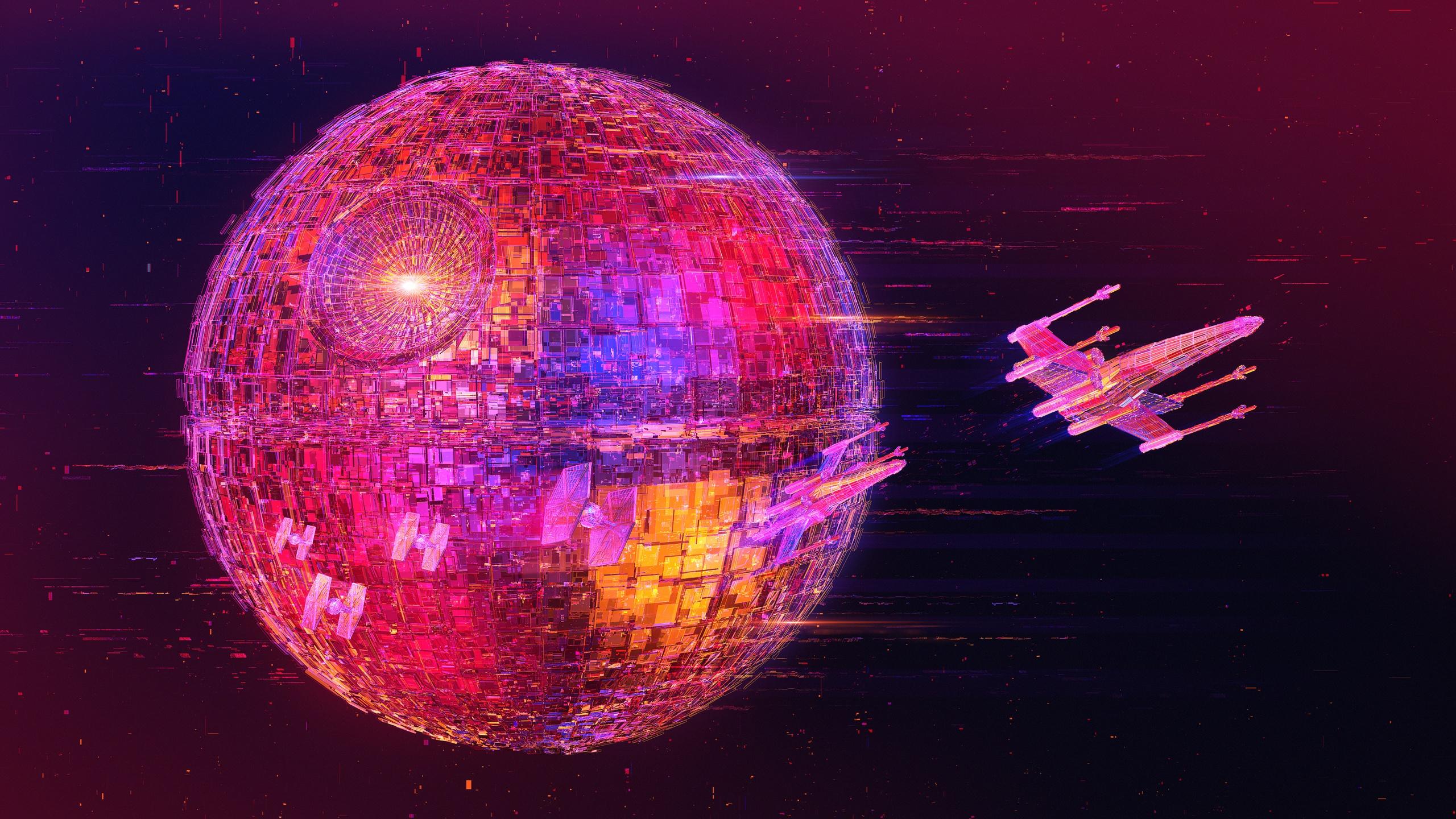Star Wars digital art X wing TIE Fighter Death Star neon artwork science fiction 1616281