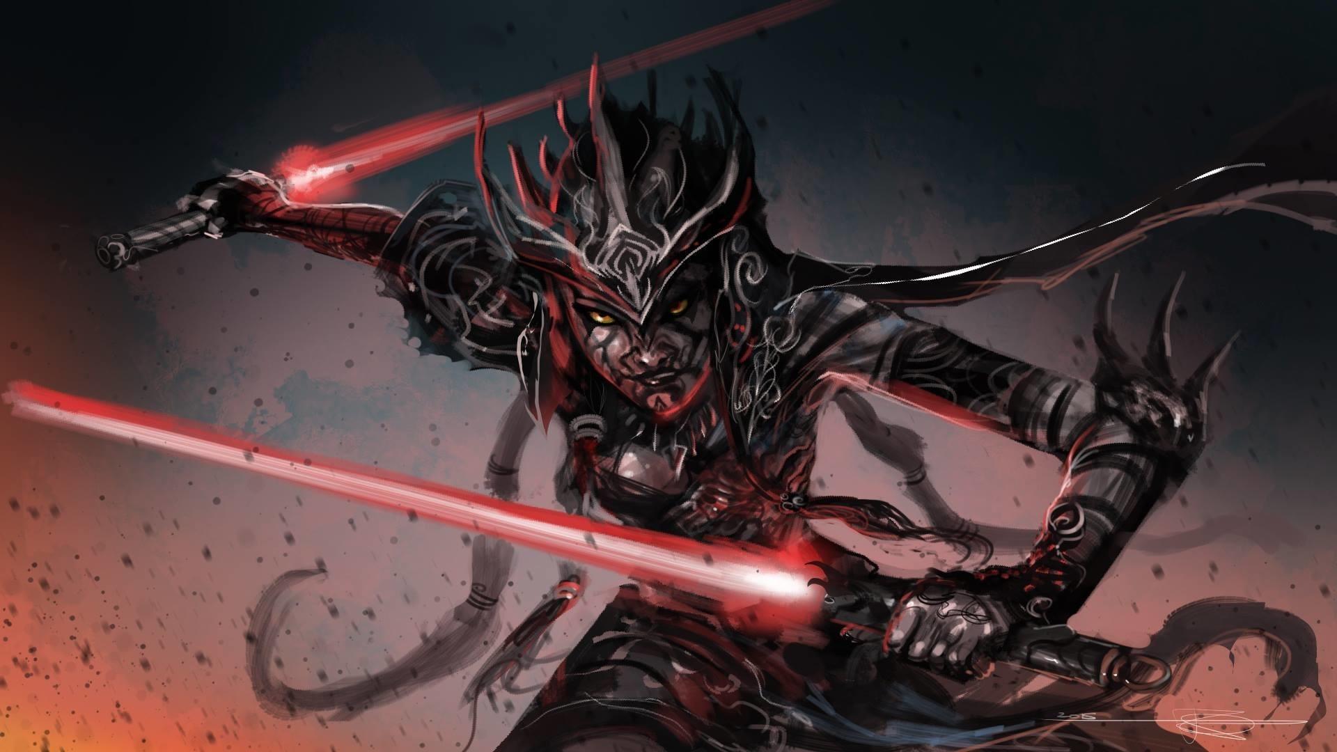 Wallpaper Star Wars Fantasy Art Artwork Sith Lightsaber Demon