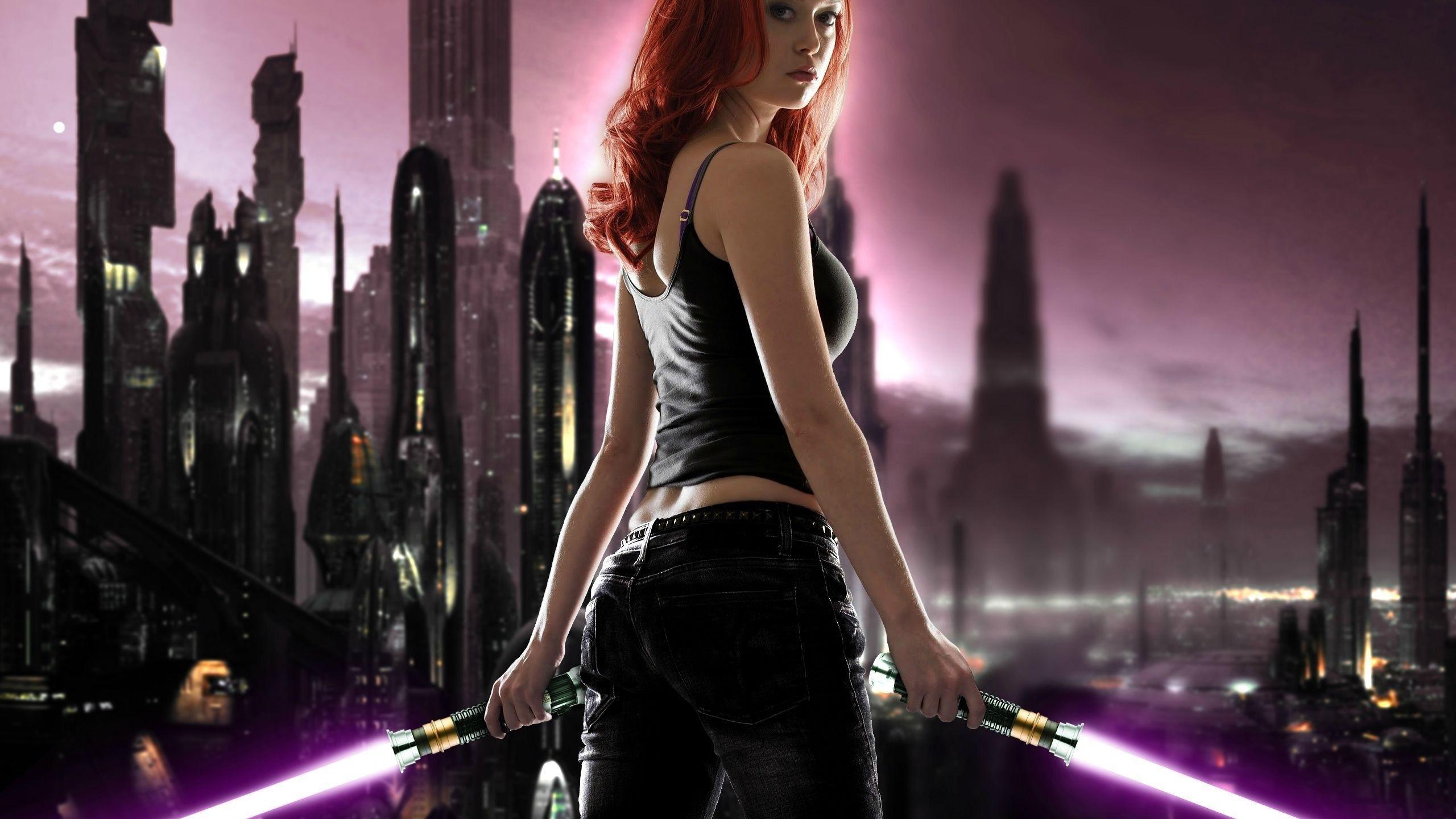 Star Wars Lightsaber Midnight Girl Darkness 2560x1440 Px Computer Wallpaper