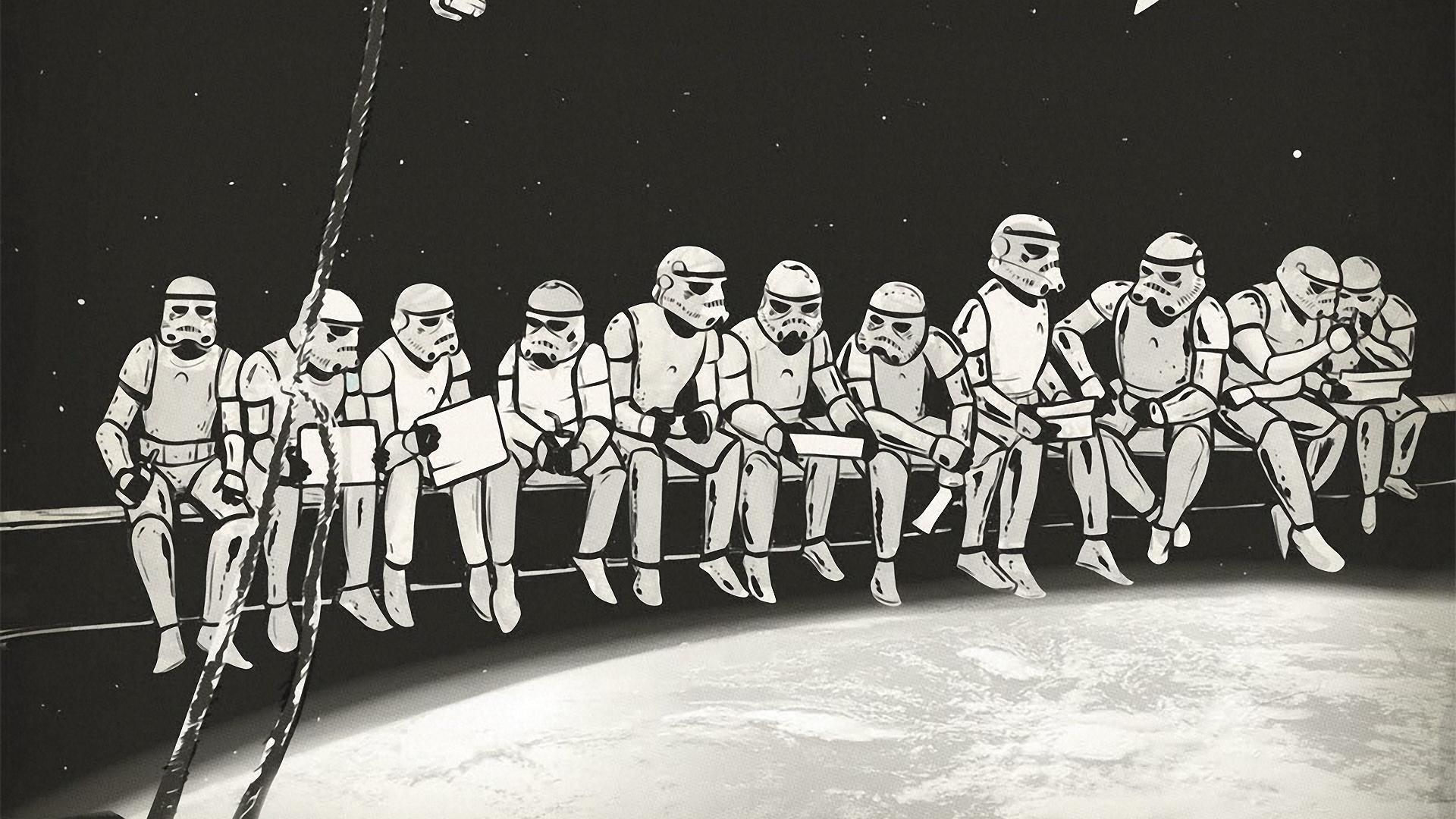 Wallpaper Star Wars Team Stormtrooper Art 1920x1080 Px Black