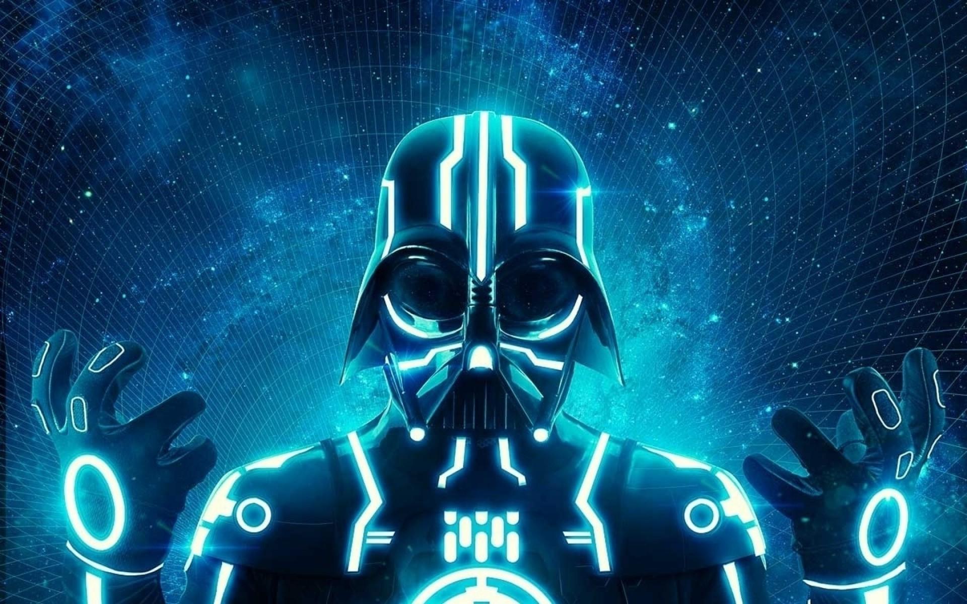 Wallpaper Star Wars Neon Ruang Karya Penggemar Darth Vader