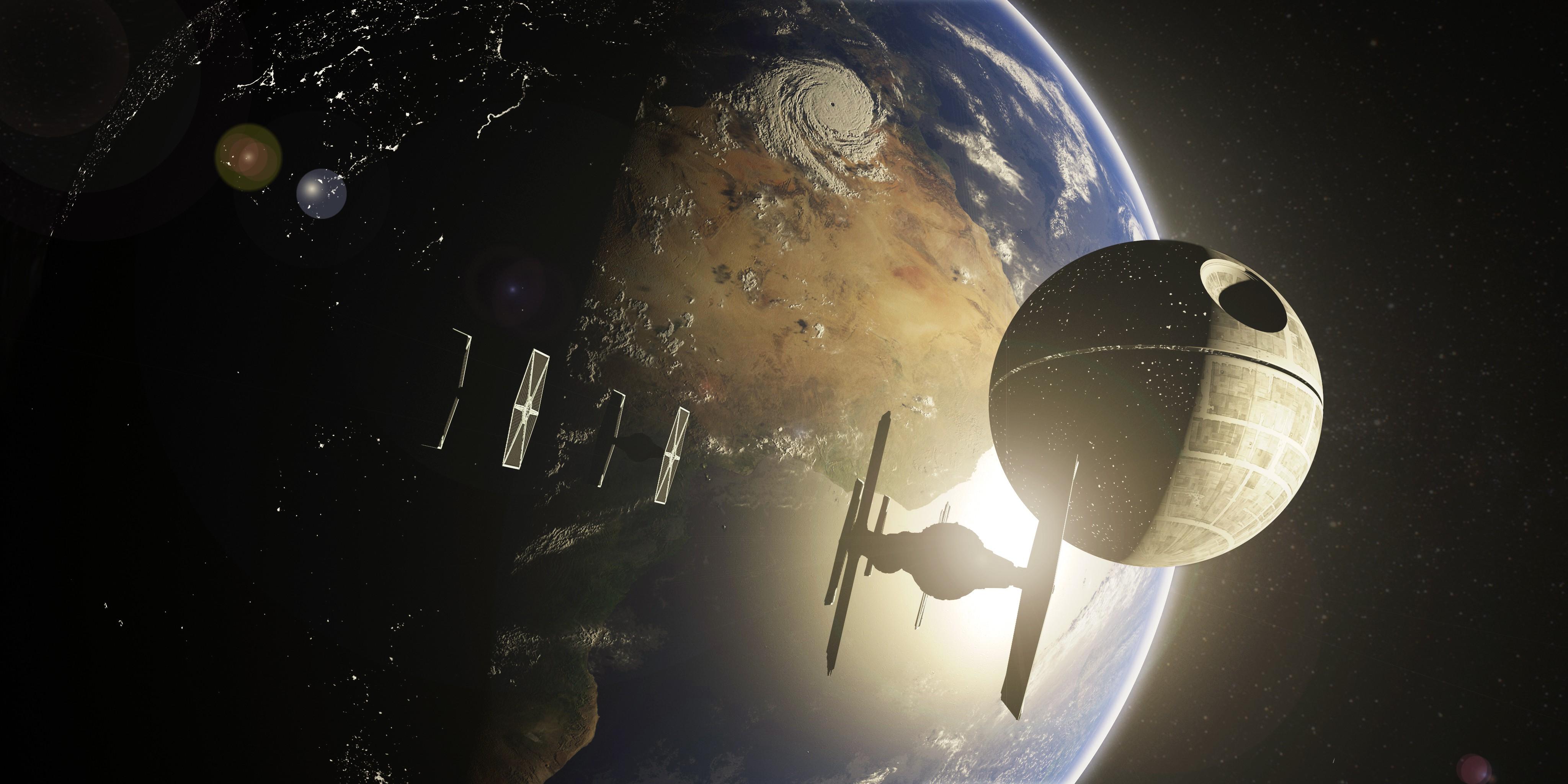 Wallpaper Star Wars Night Planet Sky Earth World Tie Fighter