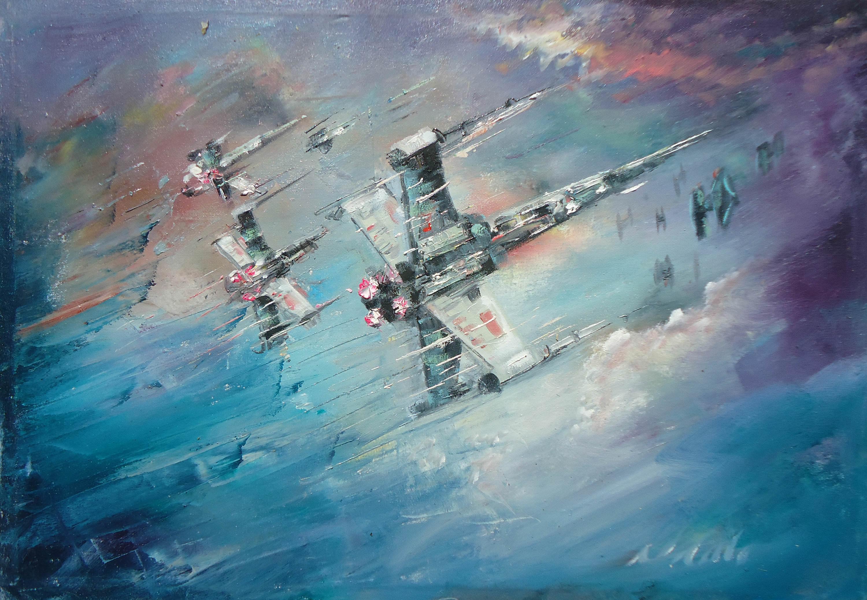 Wallpaper Star Wars Oil Painting X Wing Naci Caba Tie Fighter 3000x2077 Flamespeedy 1868601 Hd Wallpapers Wallhere