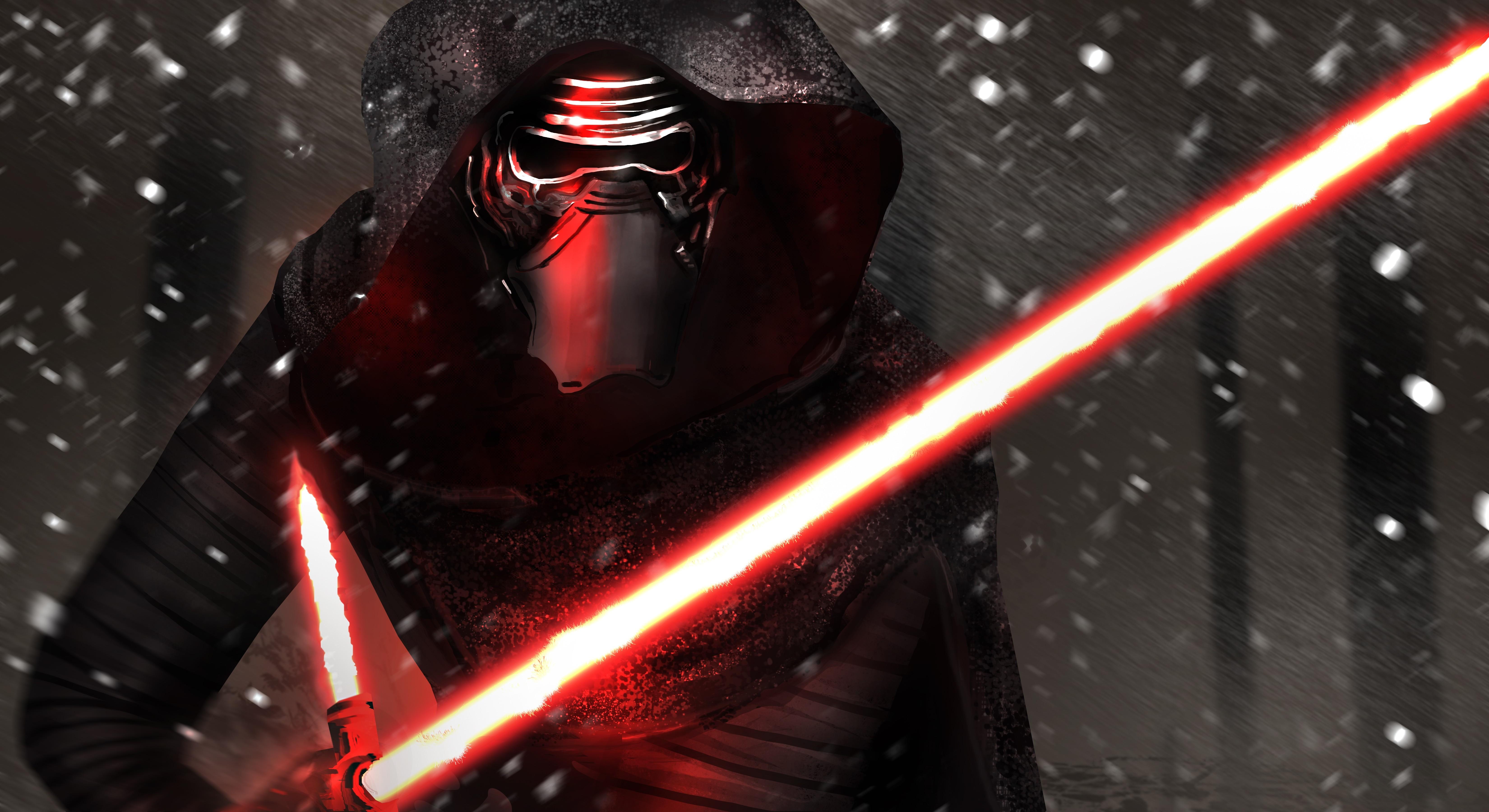 Star Wars Red Kylo Ren Darkness Screenshot Computer Wallpaper Fictional Character Special Effects 6600x3600 Px