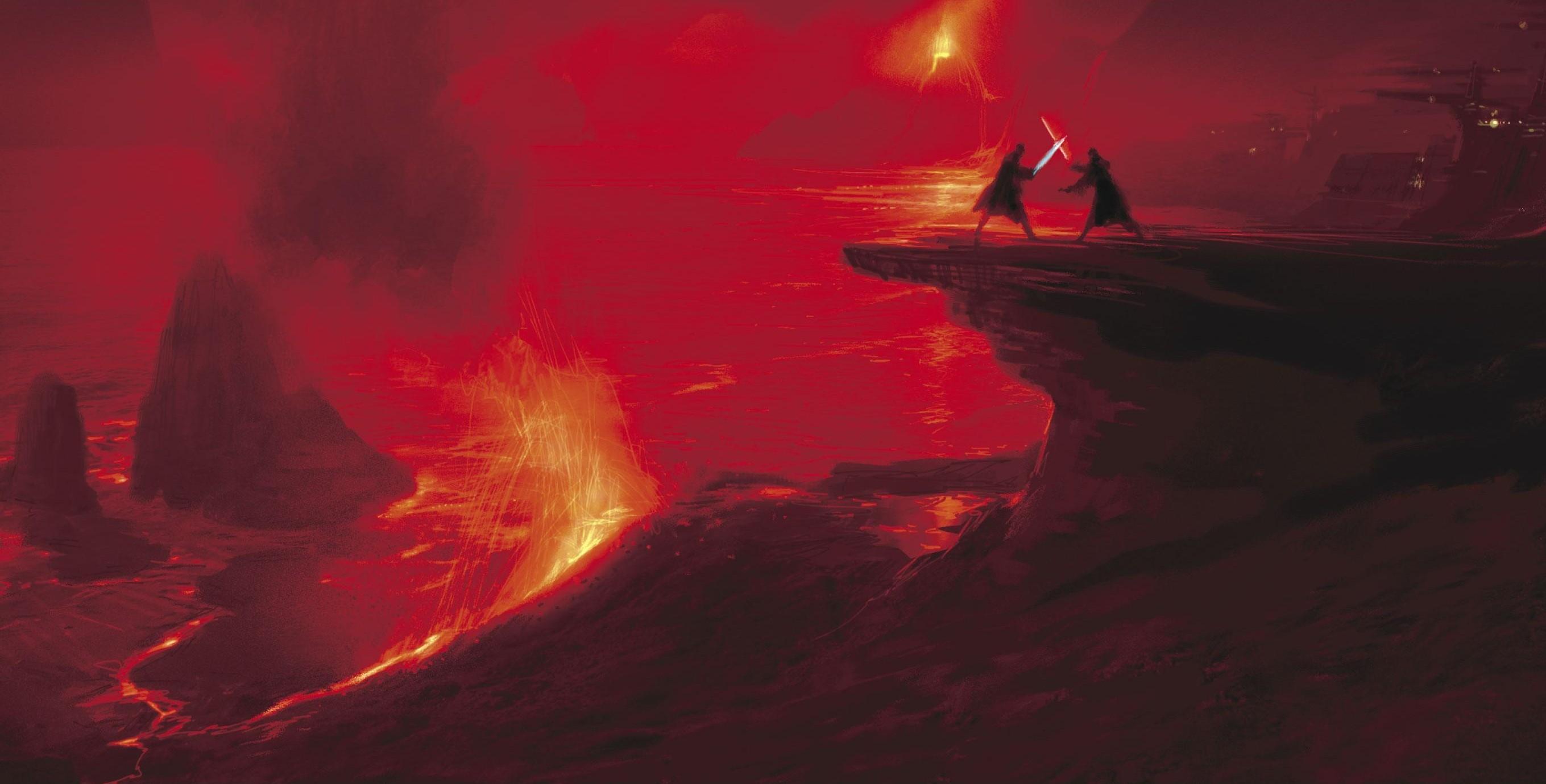Wallpaper Star Wars Red Artwork Science Fiction Concept Art Volcano Lightsaber Jedi Darth Vader Lava Star Wars Episode Iii The Revenge Of The Sith Mustafar Screenshot Geological Phenomenon 2719x1380 Missunify