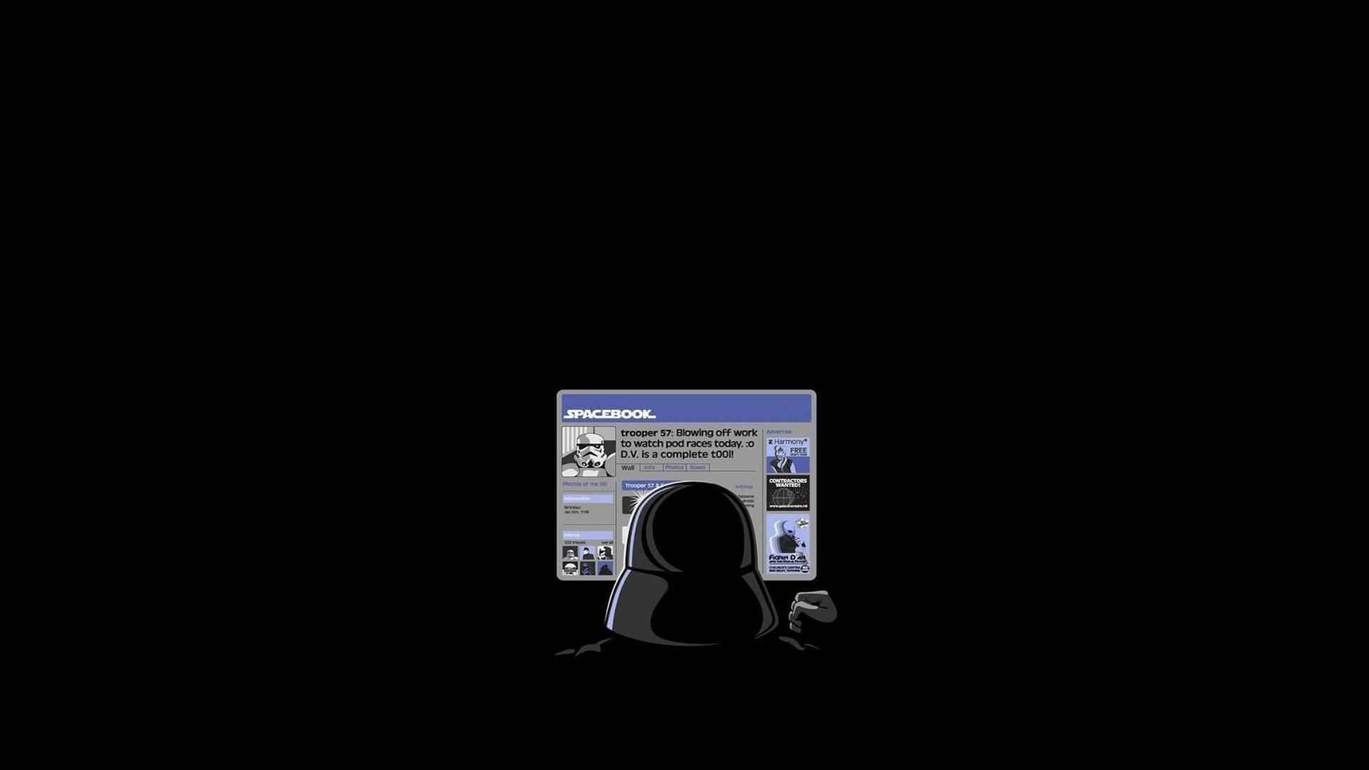Star Wars simple background minimalism humor text Darth Vader brand Facebook multimedia screenshot font 229520