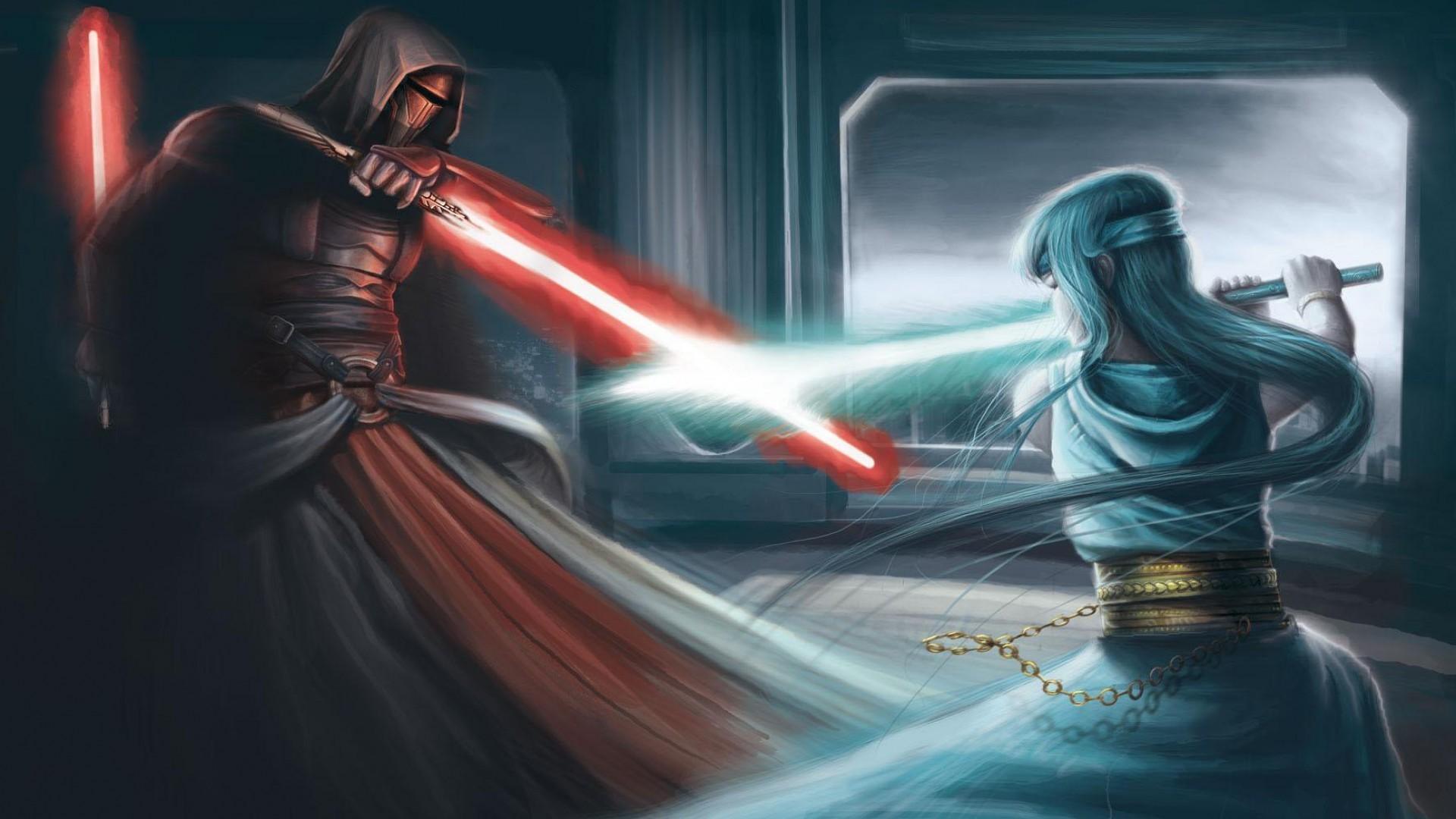 Wallpaper Star Wars Sword Lightsaber Demon Fighting Darth