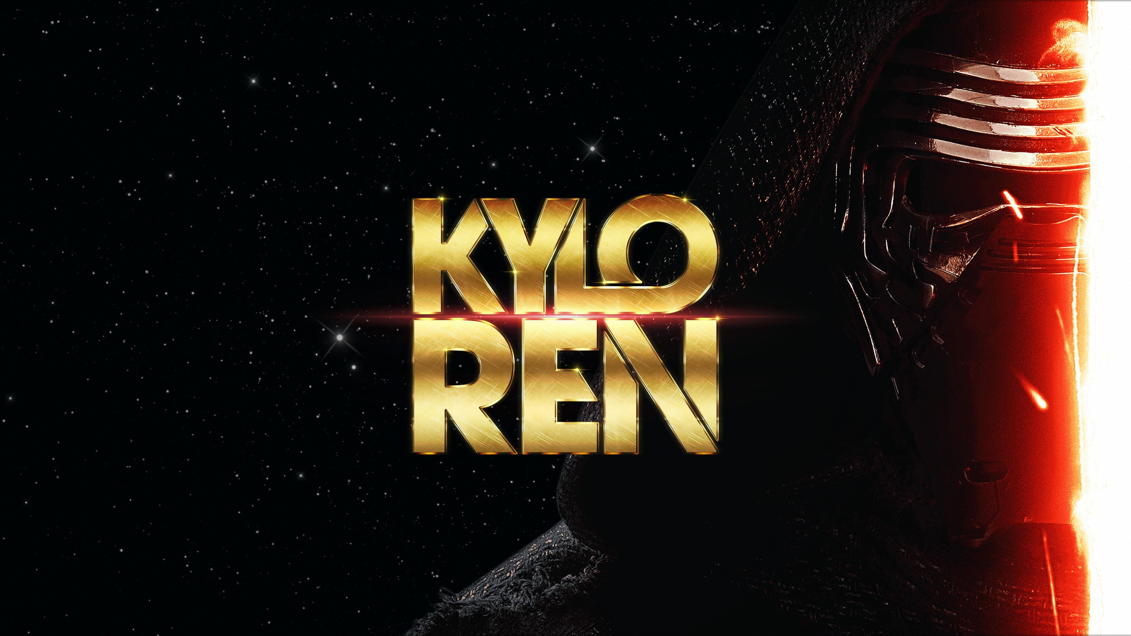 Star Wars text Sith lightsaber Kylo Ren poster brand screenshot 3840x2160 px computer wallpaper font album cover star wars episode vii the force awakens 617621