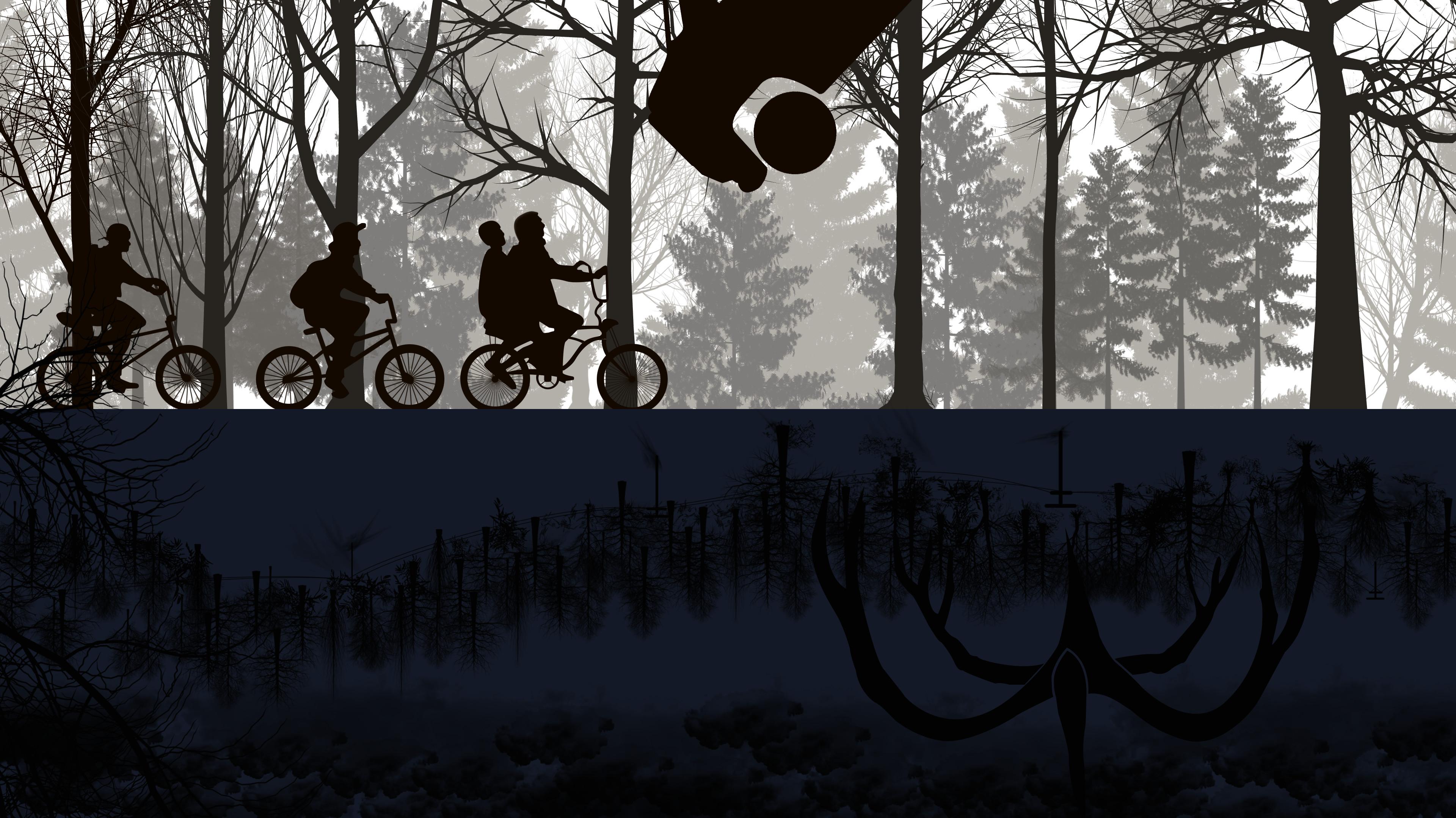 Wallpaper stranger things netflix tv bicycle 4k - Stranger things desktop wallpaper ...