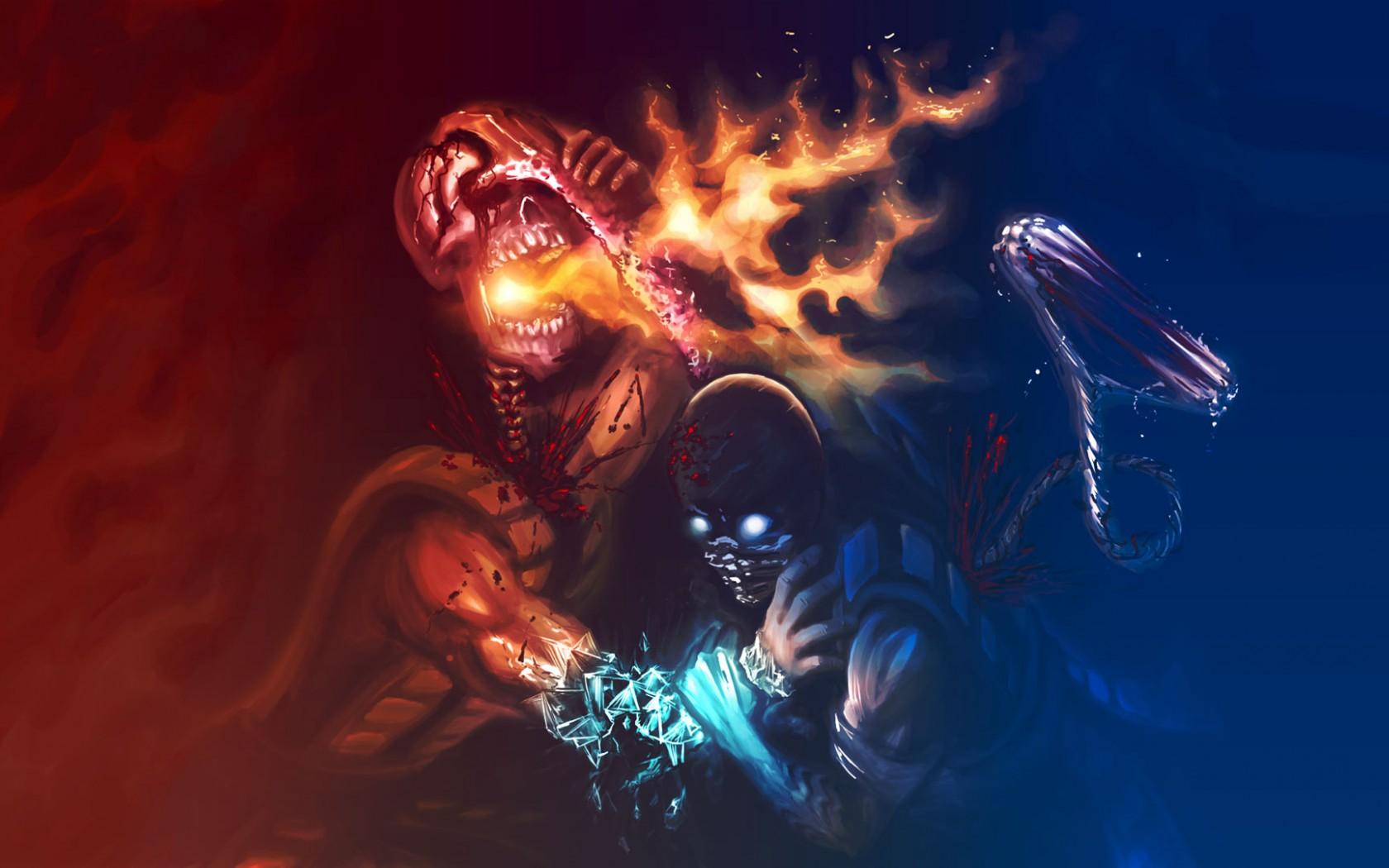 Sub Zero Mortal Kombat Scorpion ART Flame Darkness Screenshot Computer Wallpaper Fictional Character Special Effects Confrontation
