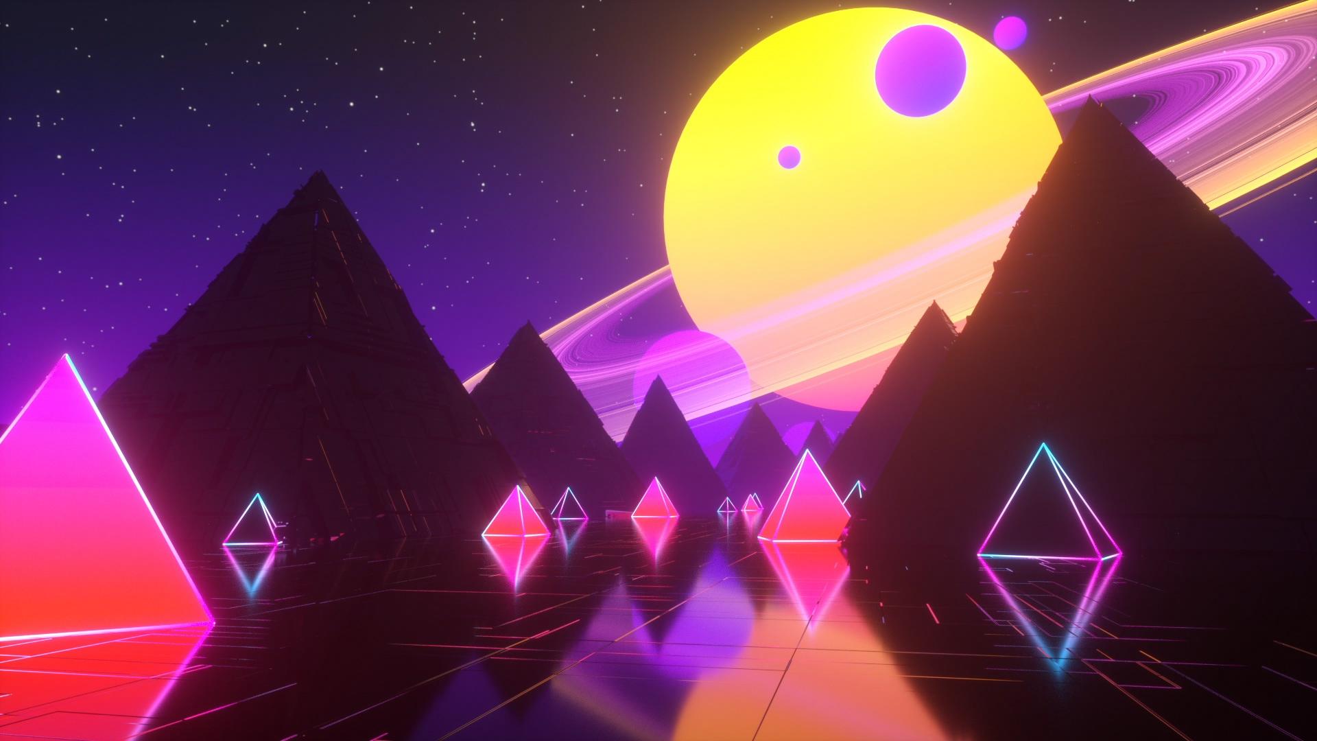 Wallpaper Sun Planet Pyramid 1920x1080 Alex93s